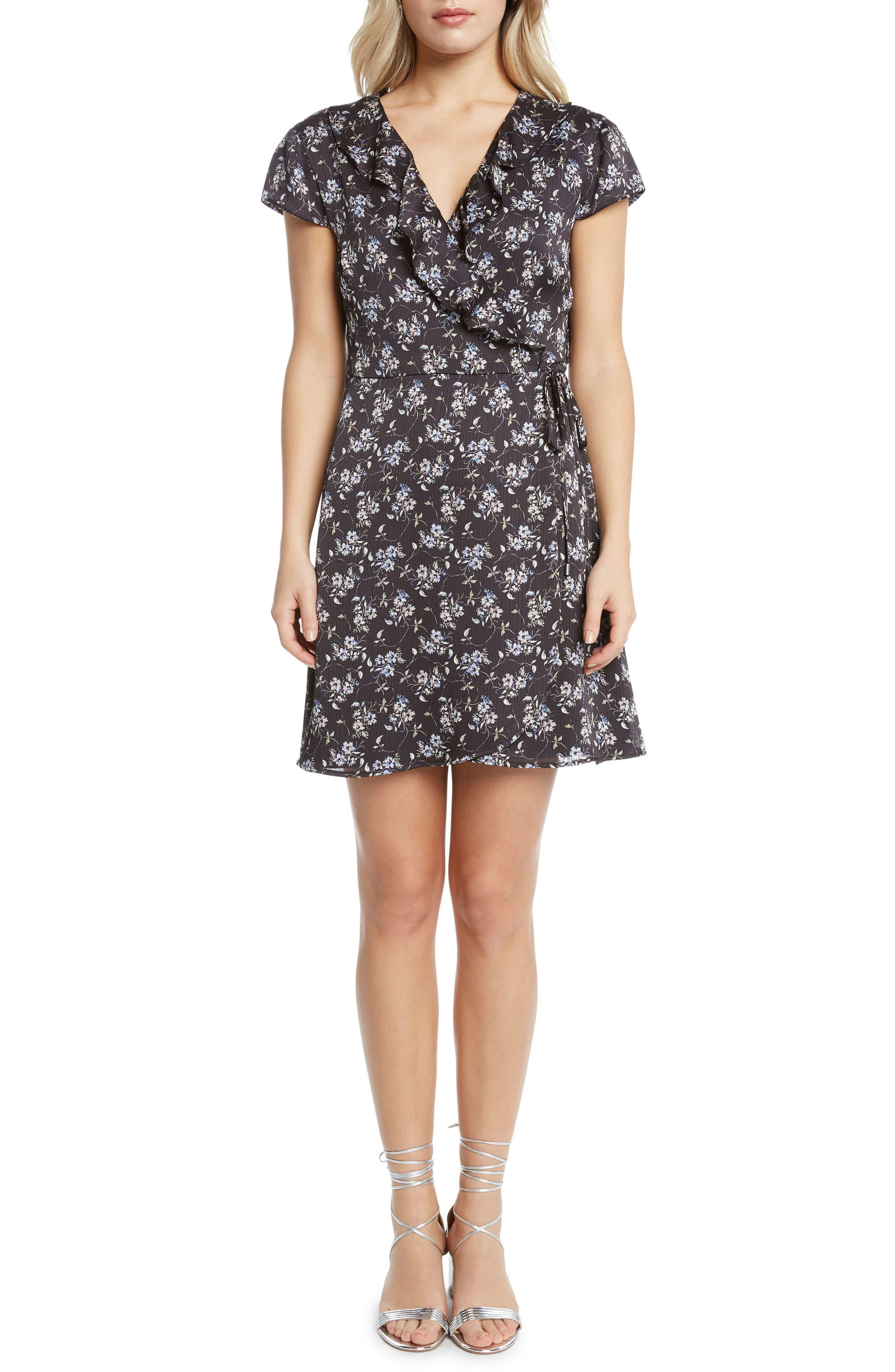 Print Wrap Dress,                             Main thumbnail 1, color,                             Black