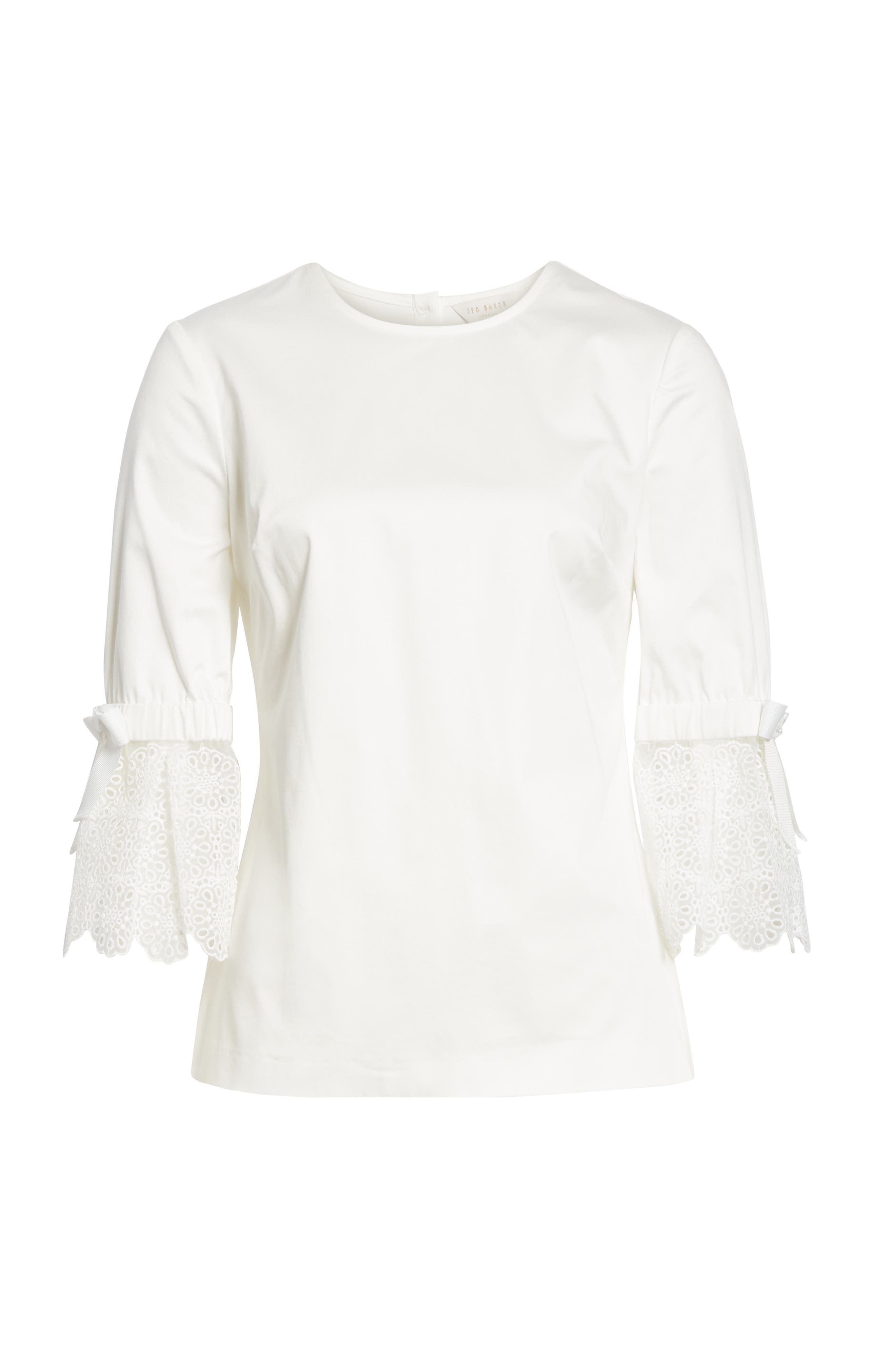 Broderie Lace Bow Sleeve Top,                             Alternate thumbnail 6, color,                             White