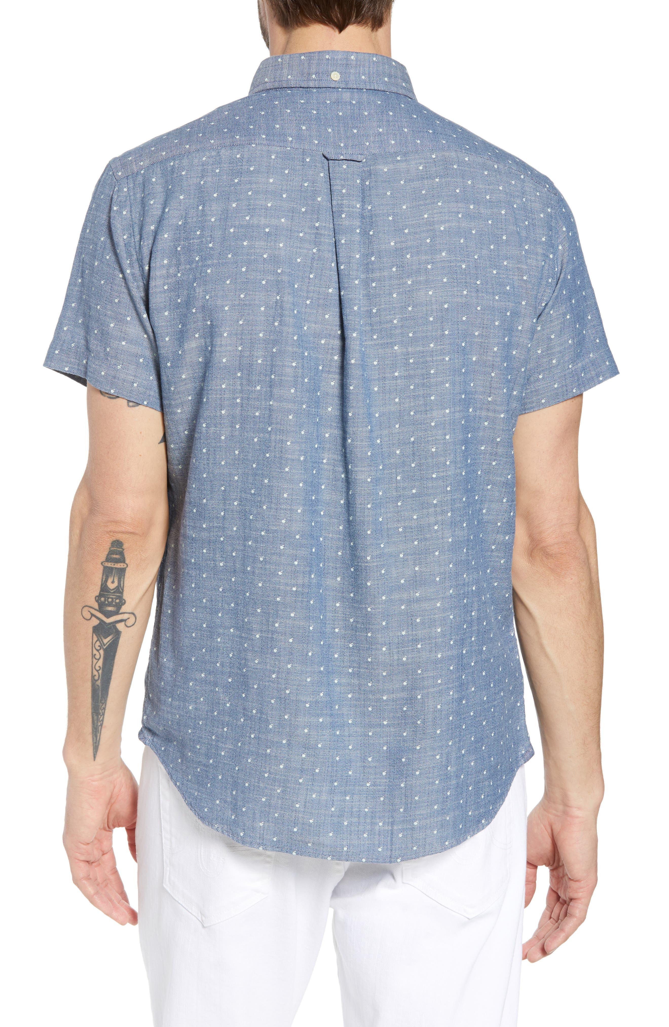 Falling Apple Slub Twill Sport Shirt,                             Alternate thumbnail 3, color,                             Blue Twill