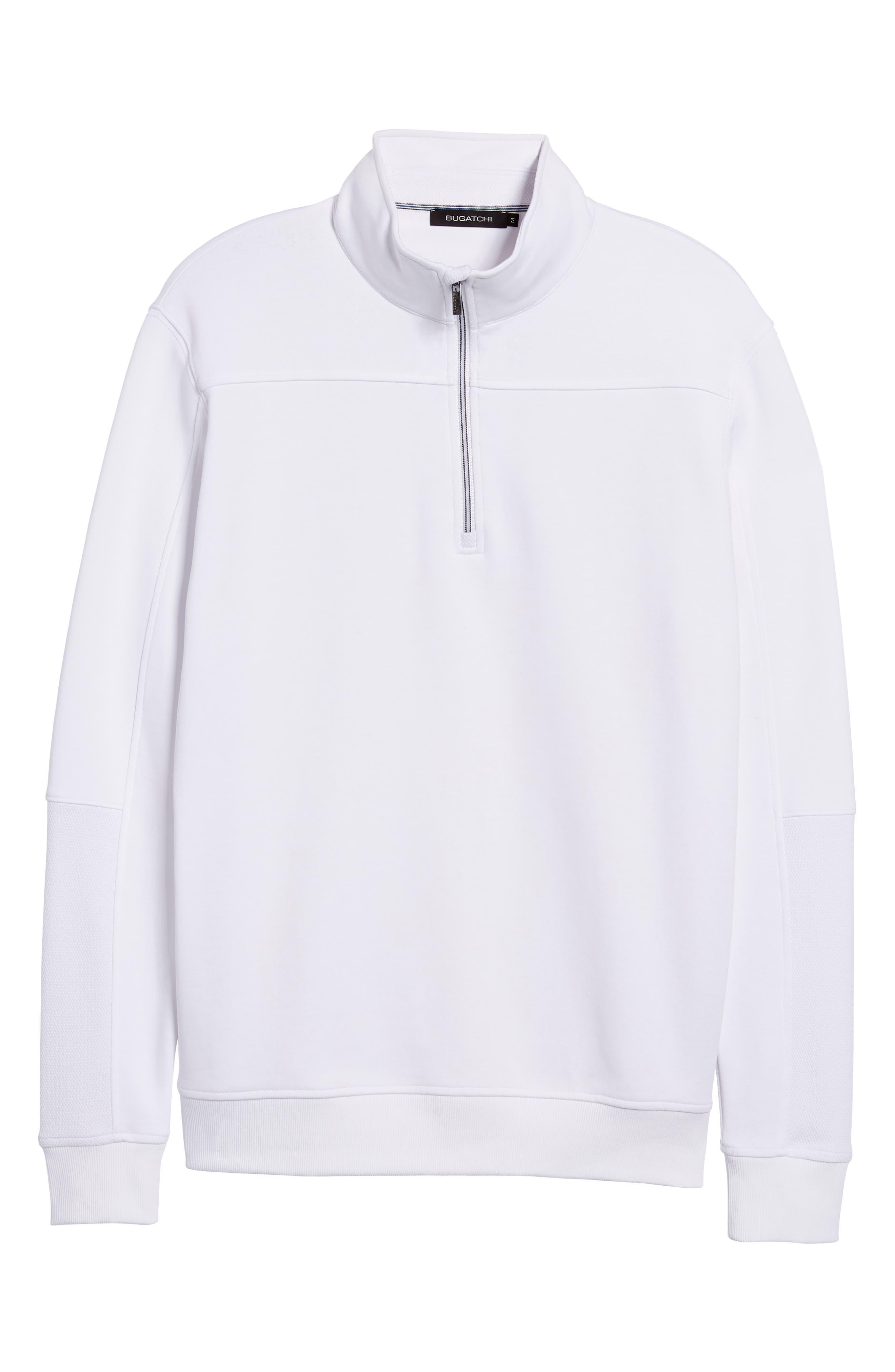 Regular Fit Knit Quarter Zip Pullover,                             Alternate thumbnail 6, color,                             White