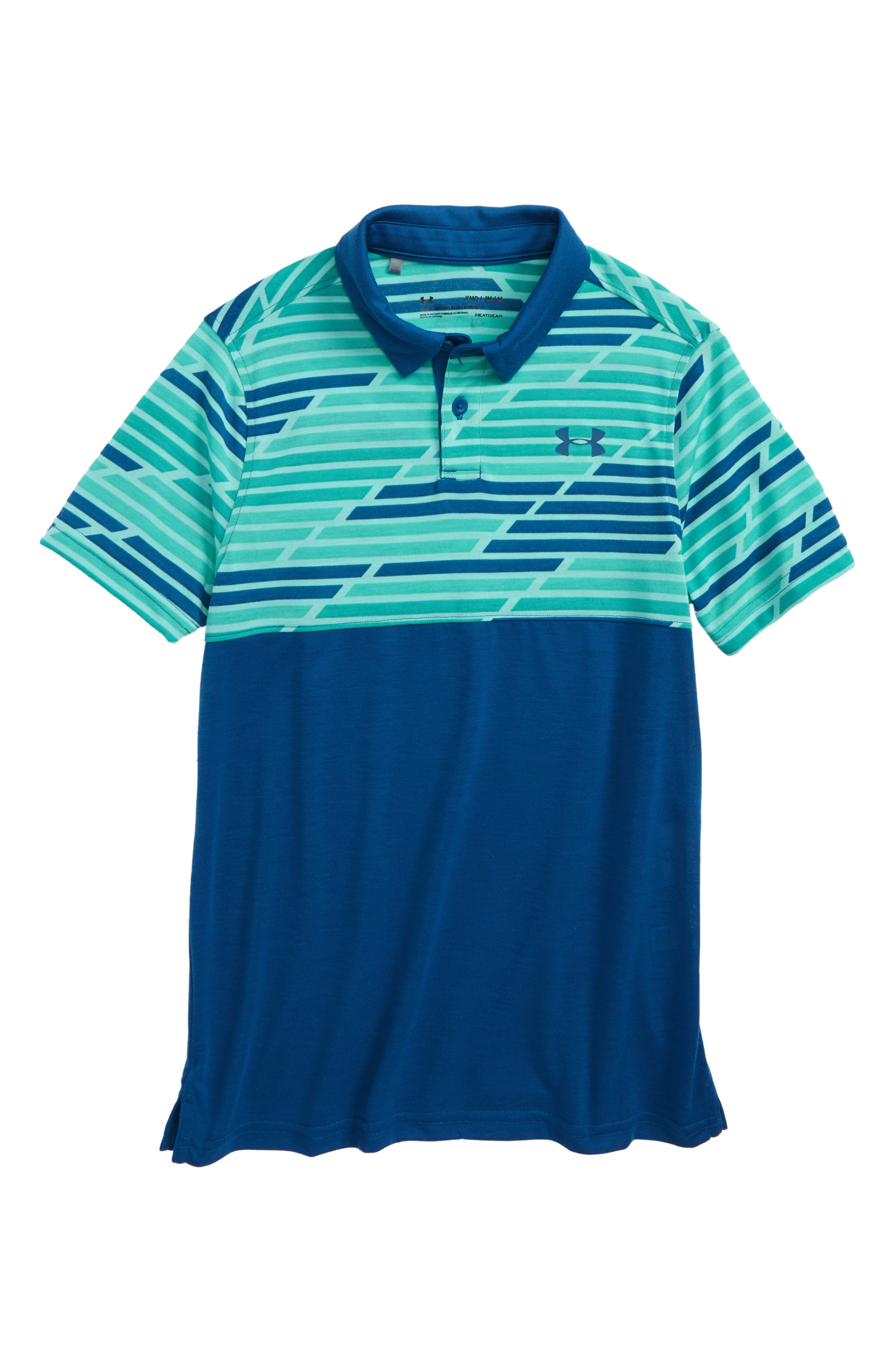Threadborne HeatGear<sup>®</sup> Polo,                         Main,                         color, Teal Punch/ Moroccan Blue