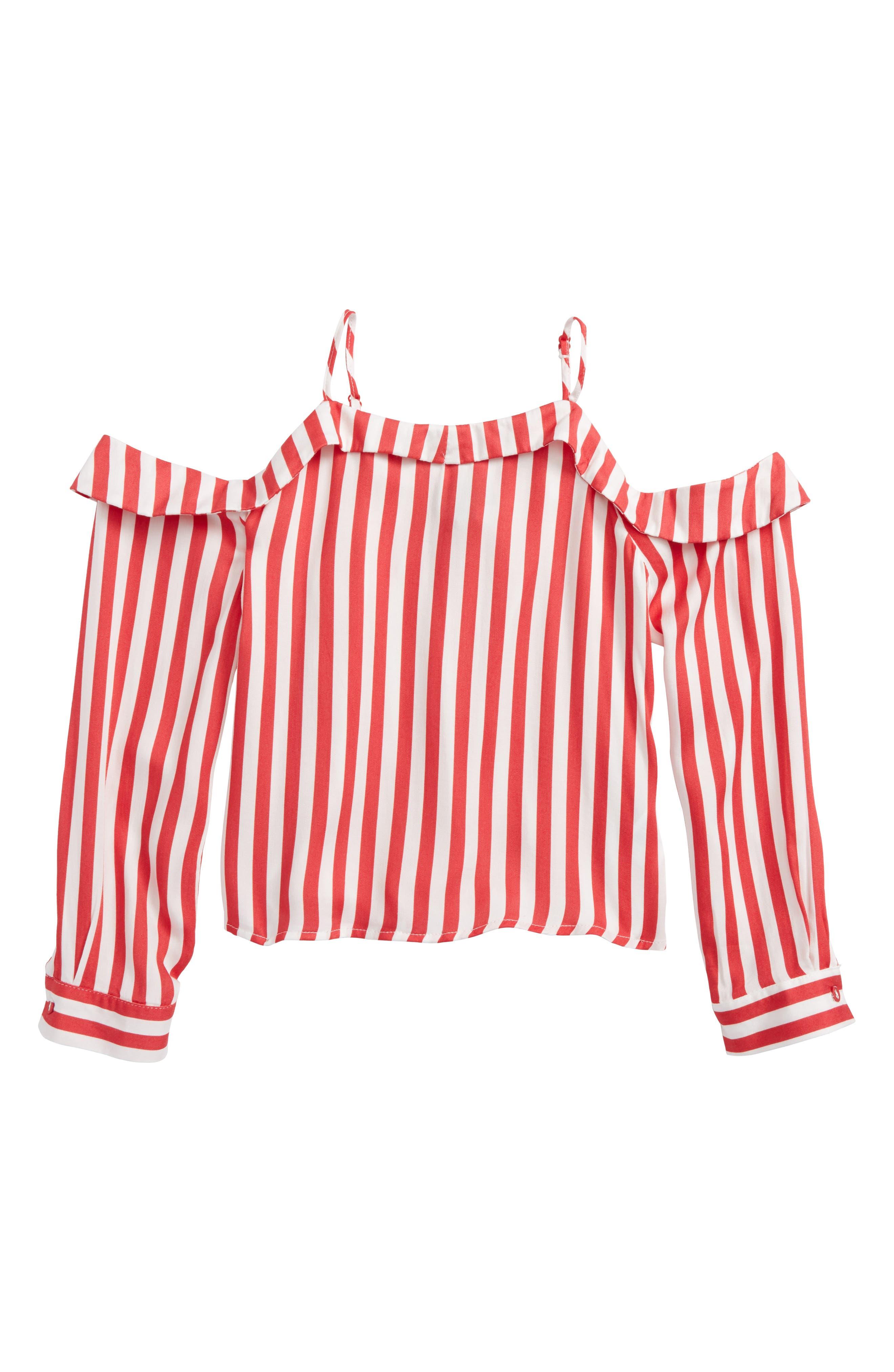 Eve Cold Shoulder Top,                         Main,                         color, Lollipop Stripe