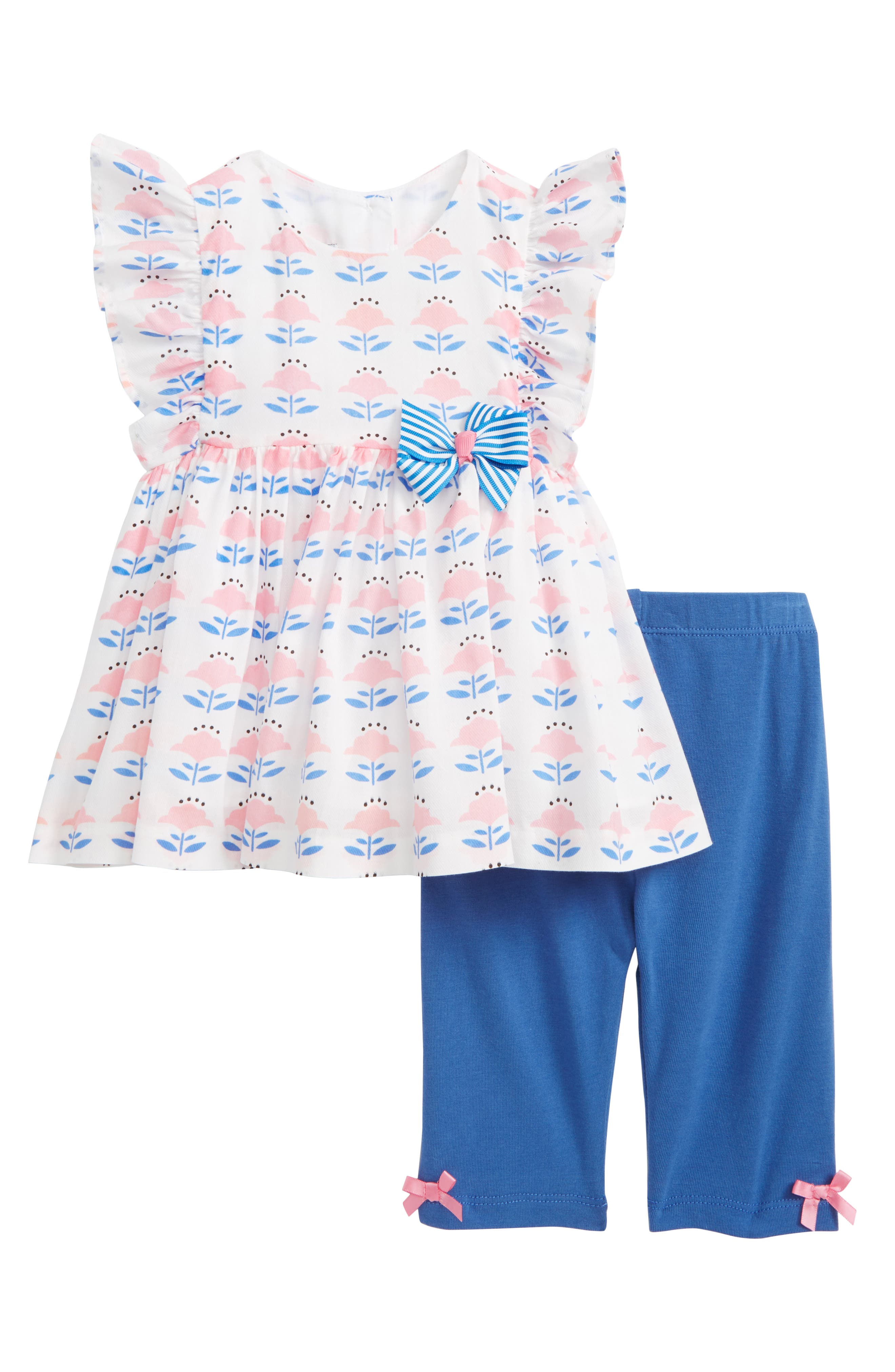 Flutter Sleeve Top & Leggings Set,                             Main thumbnail 1, color,                             White/ Pink