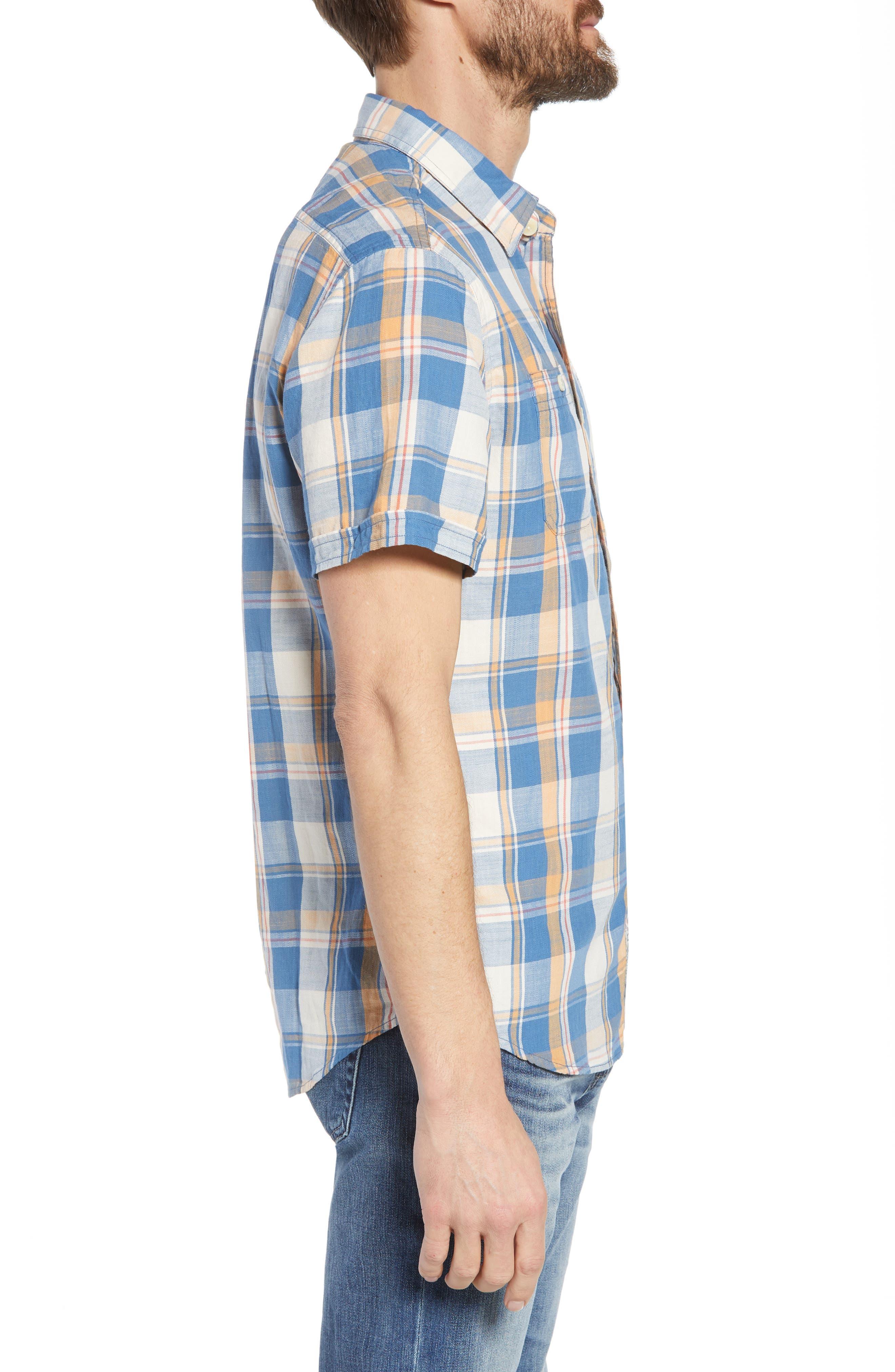 Sherman Plaid Slub Twill Sport Shirt,                             Alternate thumbnail 4, color,                             Blue Mustard Red