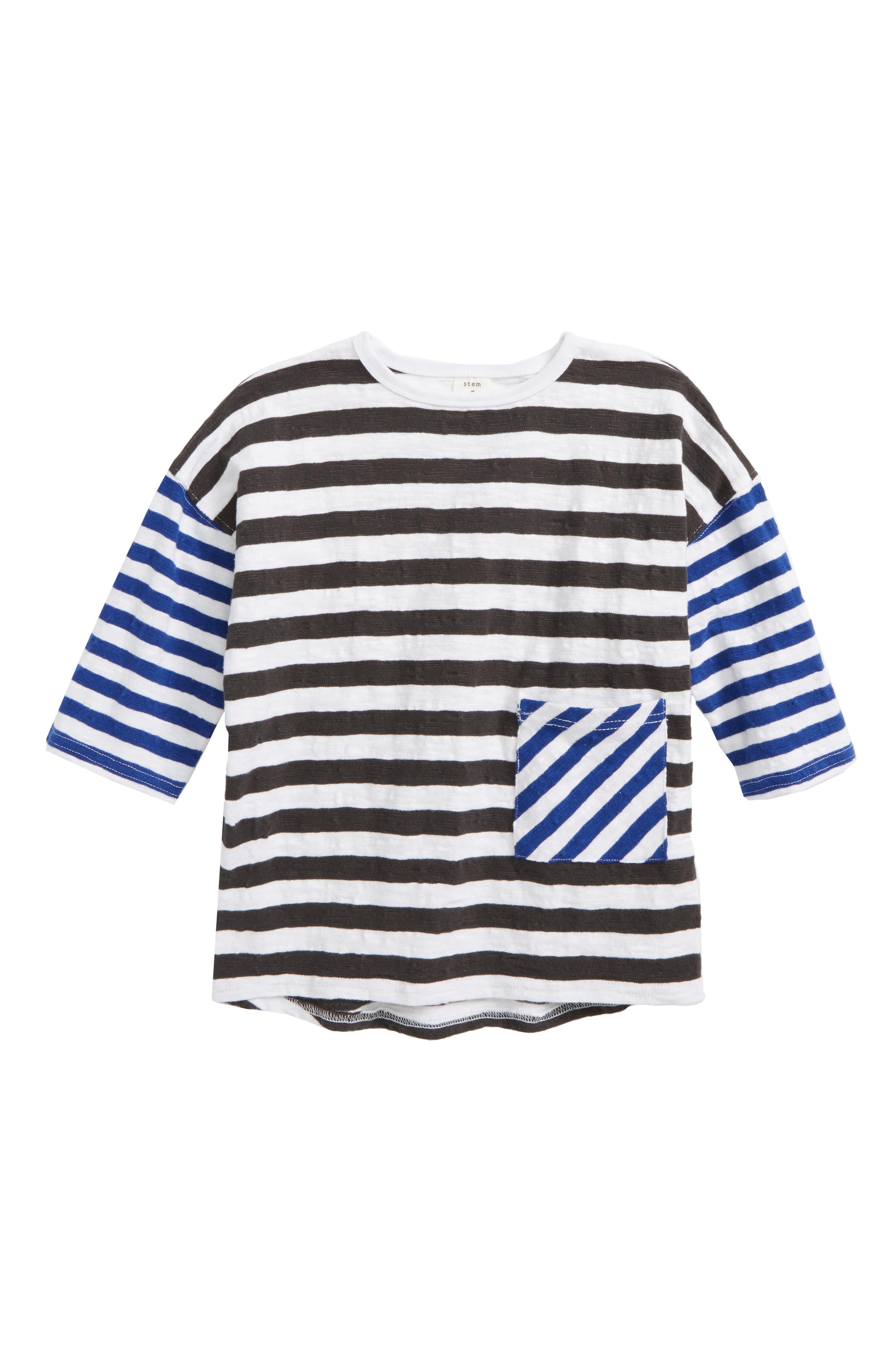 Mixed Stripe Pocket T-Shirt,                         Main,                         color, White Multi Stripe