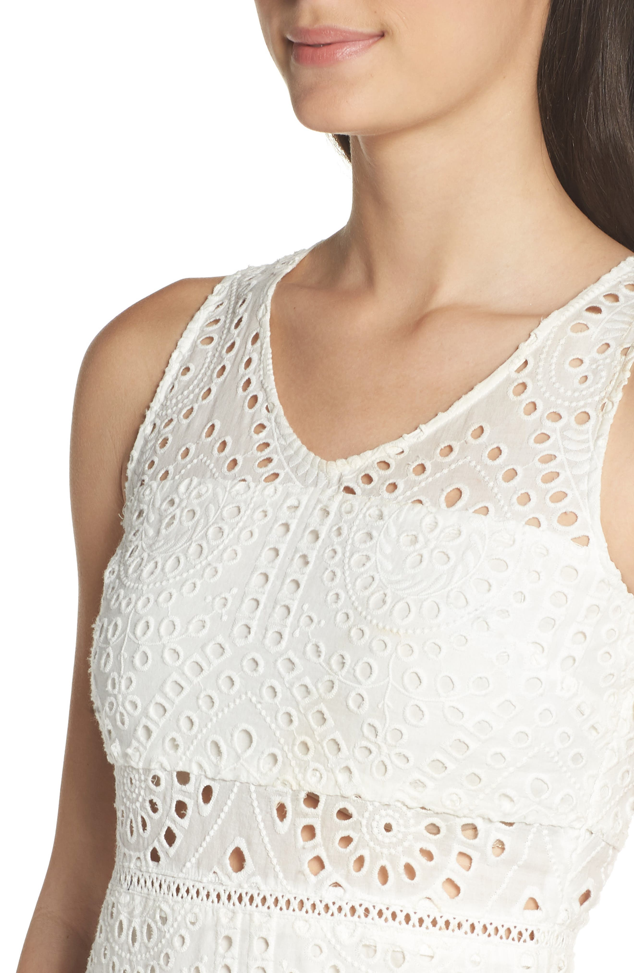 Asymmetric Hem Eyelet Dress,                             Alternate thumbnail 4, color,                             White