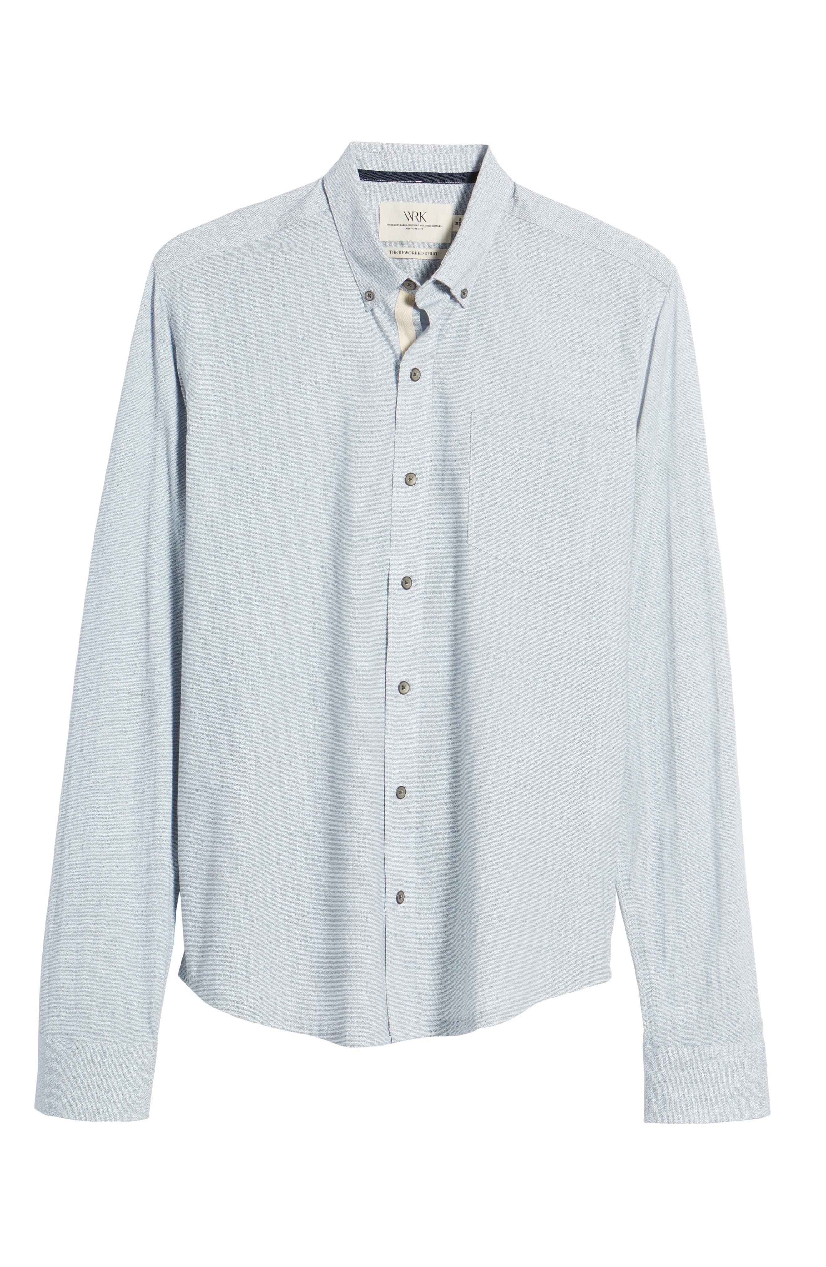 Reworked Slim Fit Speckled Sport Shirt,                             Alternate thumbnail 6, color,                             Blue