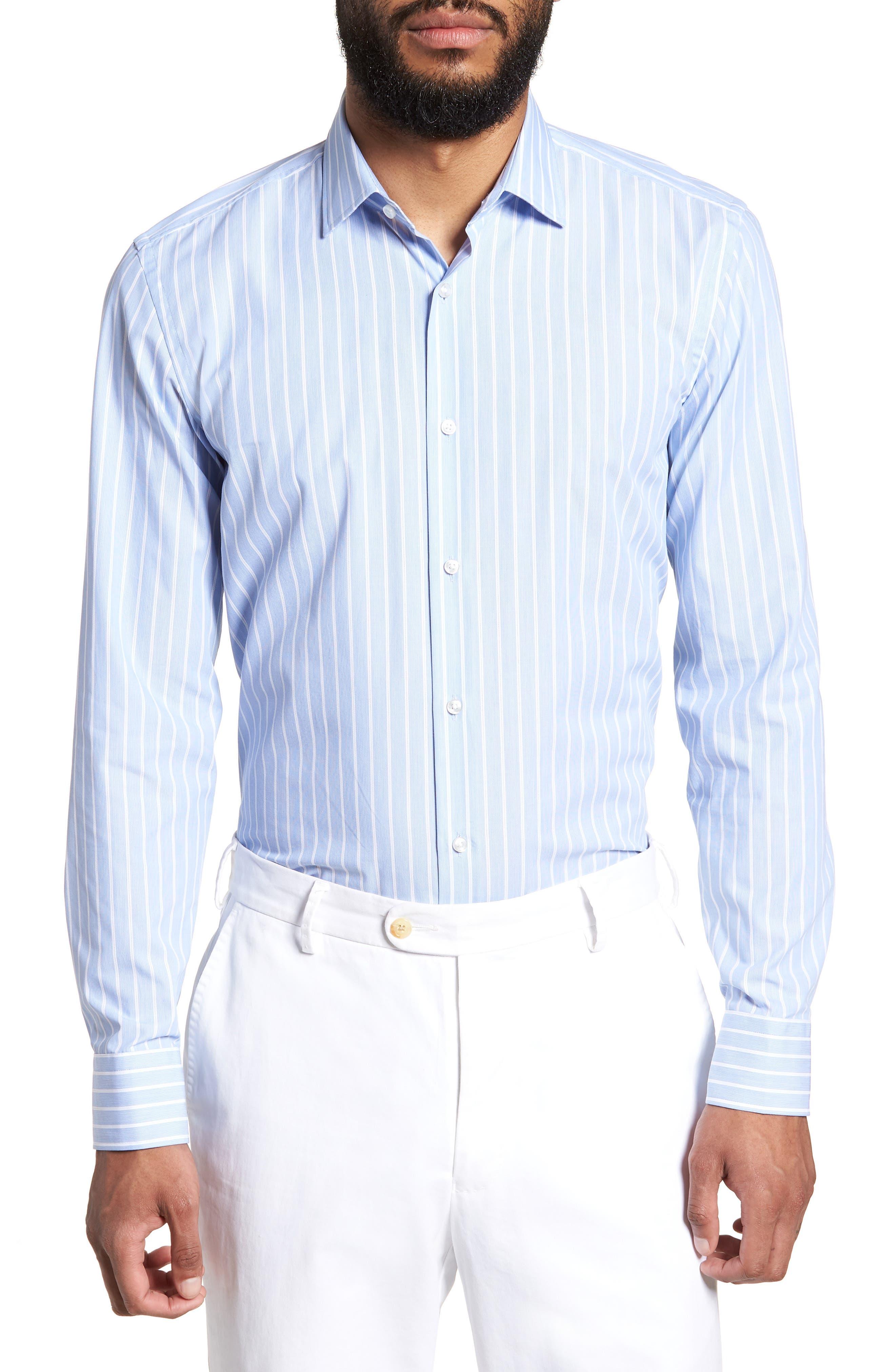 Jenno Slim Fit Stripe Dress Shirt,                         Main,                         color, Blue