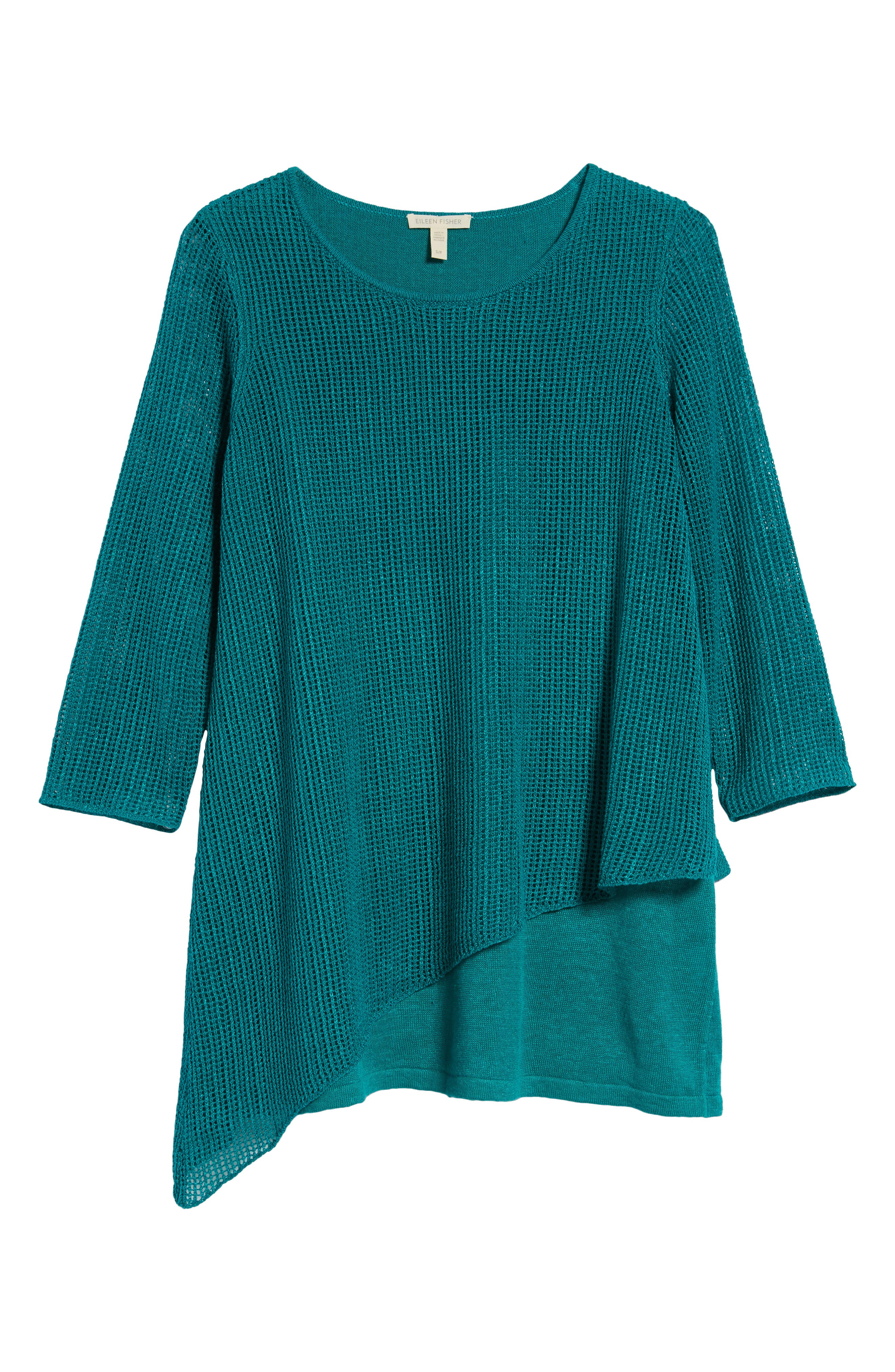 Organic Linen Tunic Sweater,                             Alternate thumbnail 6, color,                             Turquoise