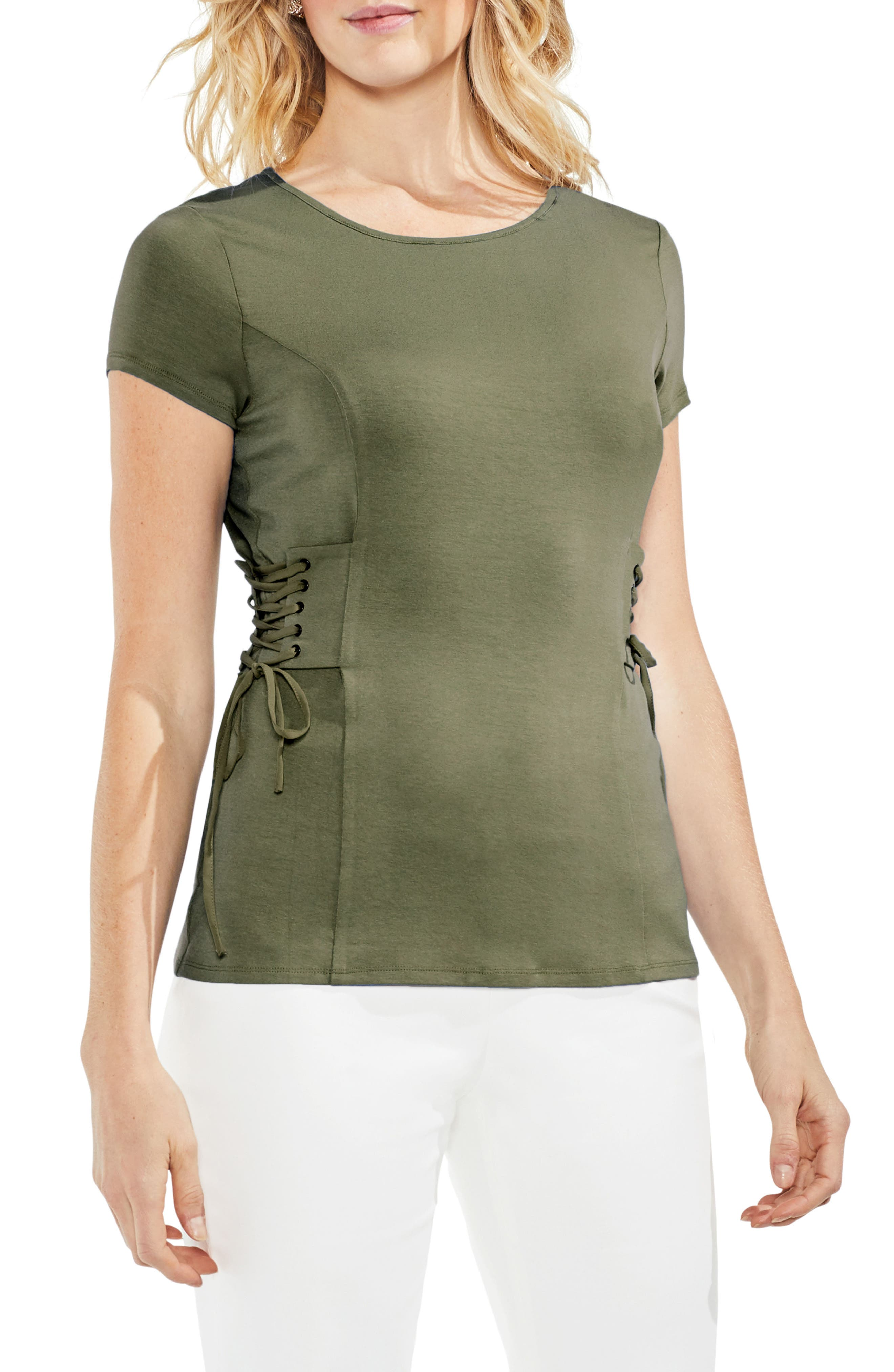 Side Lace-Up Top,                         Main,                         color, Camo Green