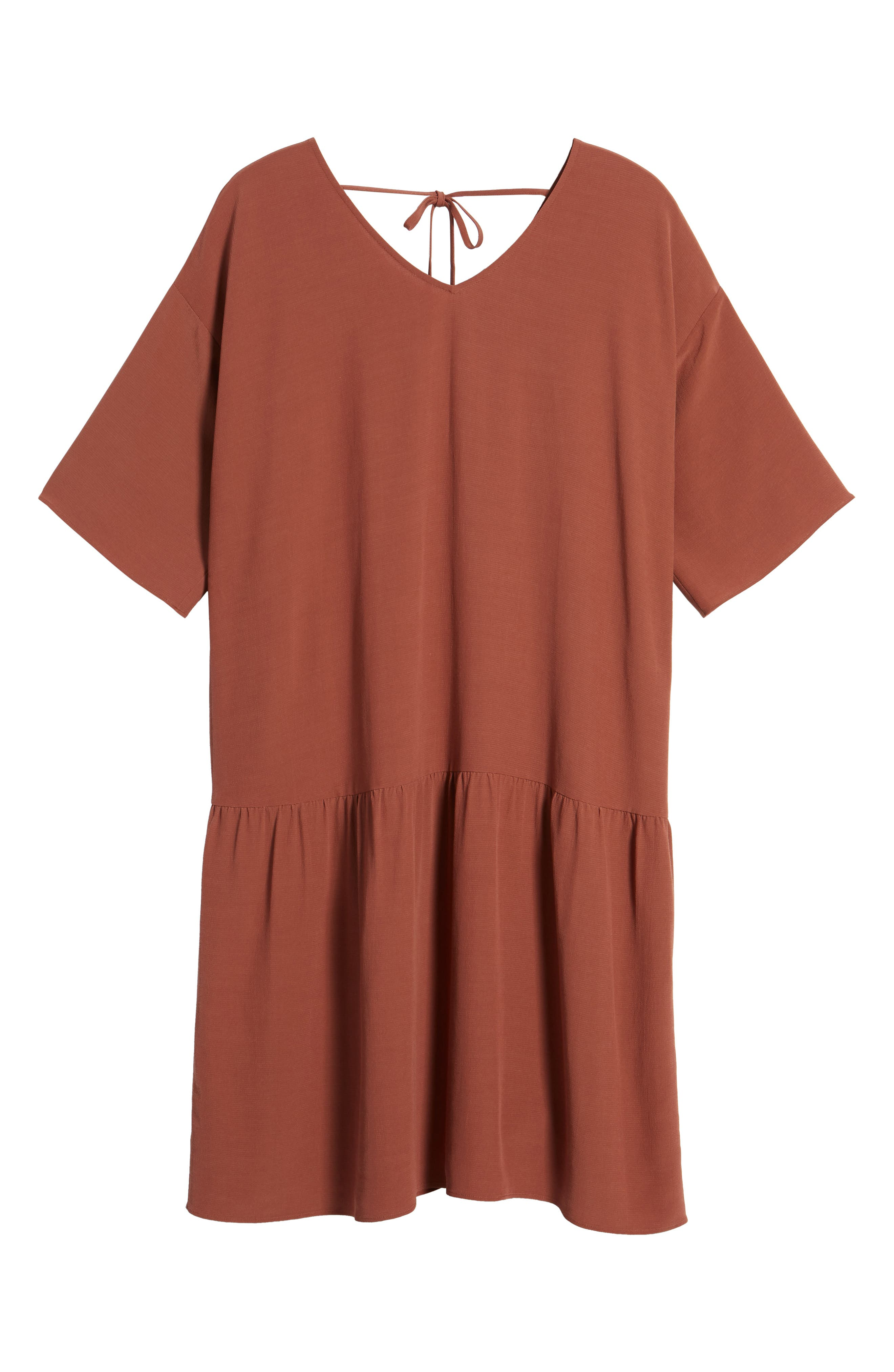 Drop Waist Tencel<sup>®</sup> Lyocell Blend Dress,                             Alternate thumbnail 7, color,                             Russet