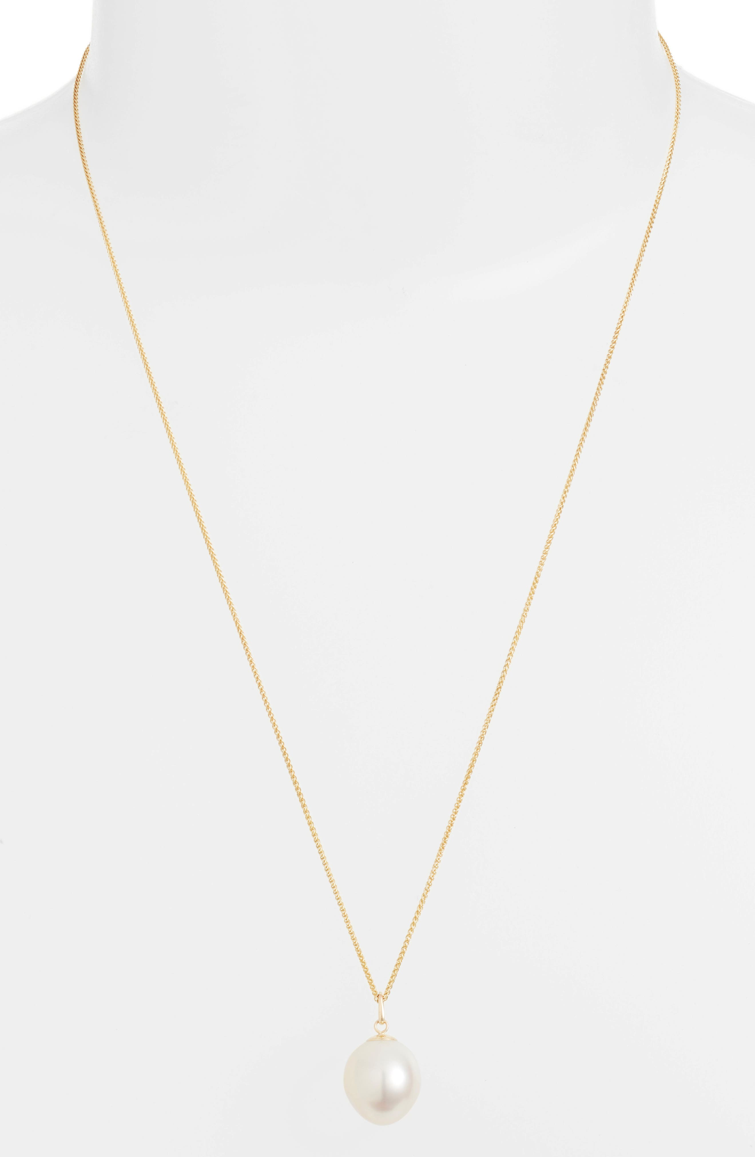 Double Chain Pearl Pendant Necklace,                             Alternate thumbnail 2, color,                             Yellow Gold/ White Pearl