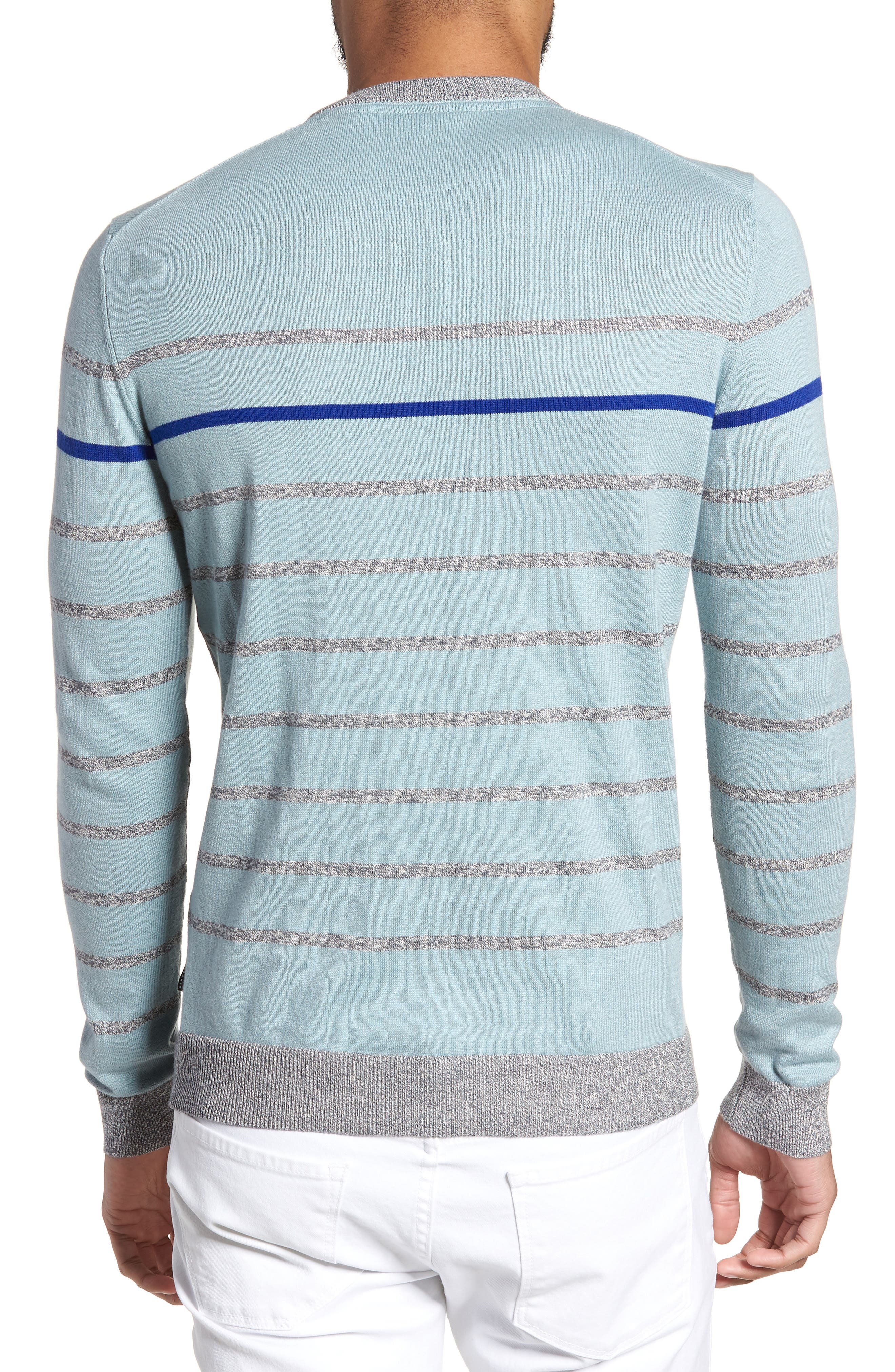 Britnay Trim Fit Stripe Crewneck Sweater,                             Alternate thumbnail 2, color,                             Blue