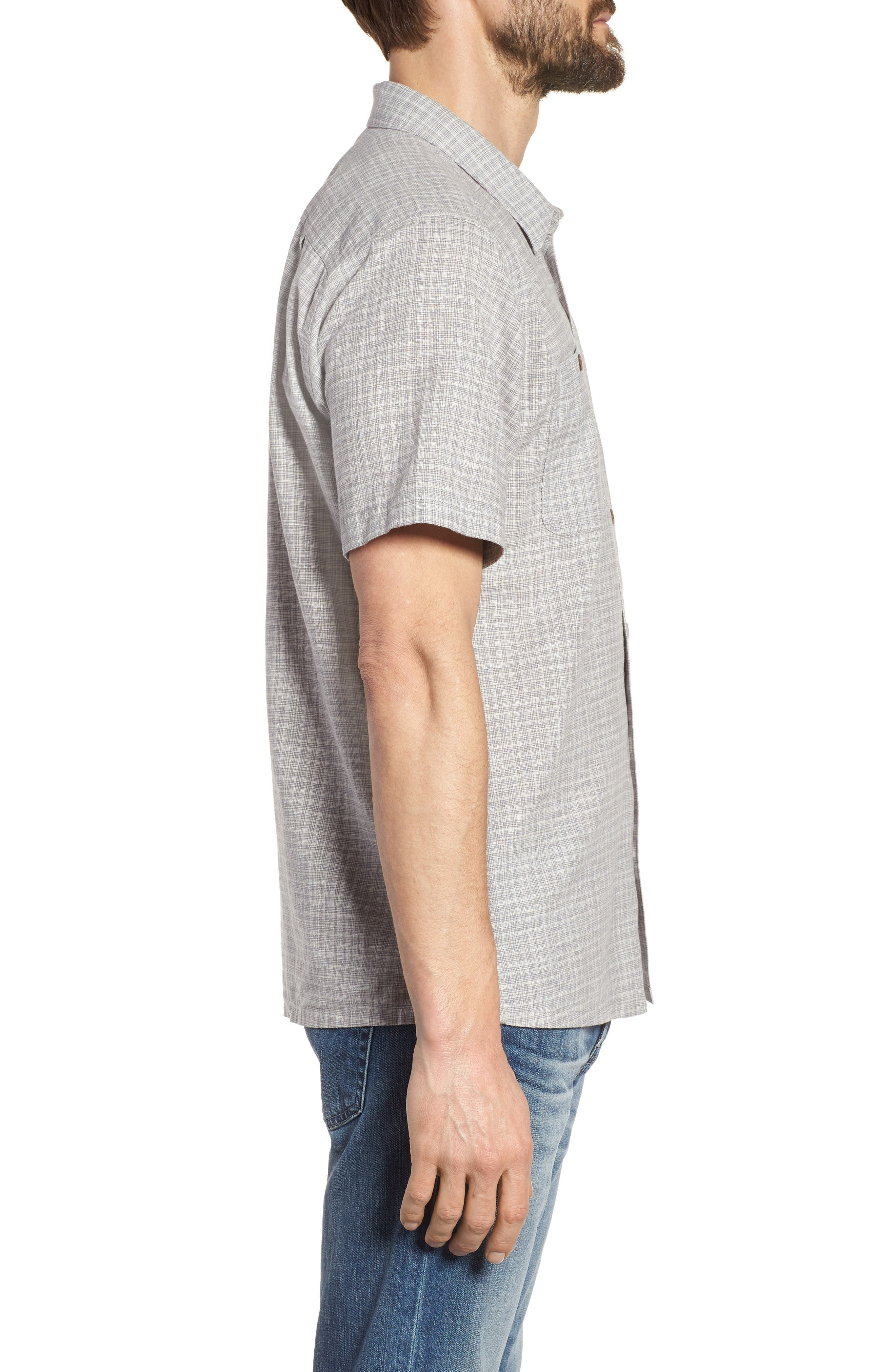 'Back Step' Regular Fit Check Short Sleeve Sport Shirt,                             Alternate thumbnail 4, color,                             Tino/ Feather Grey