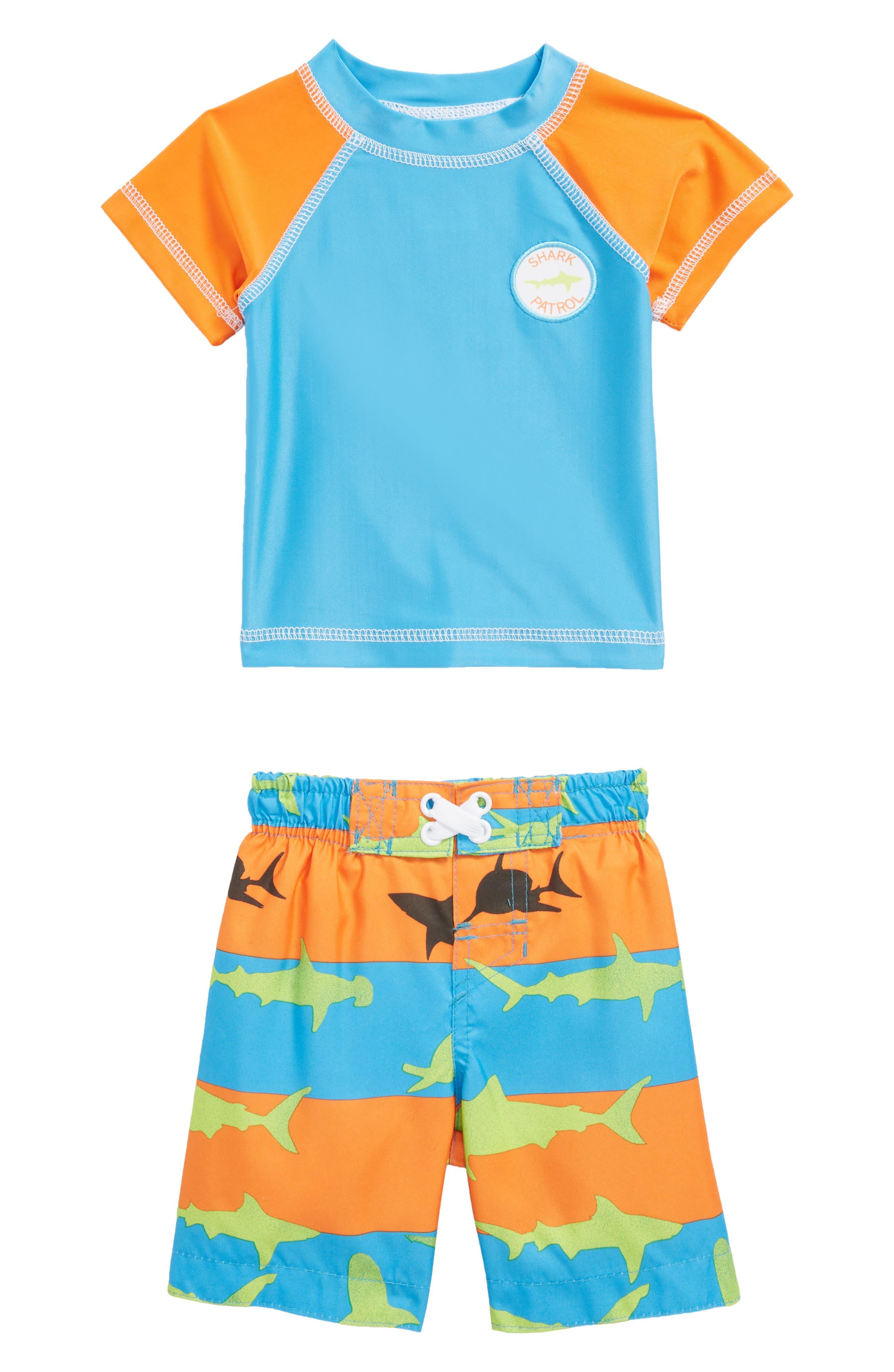 Shark Illusion Two-Piece Rashguard Swimsuit,                             Main thumbnail 1, color,                             Blue Multi