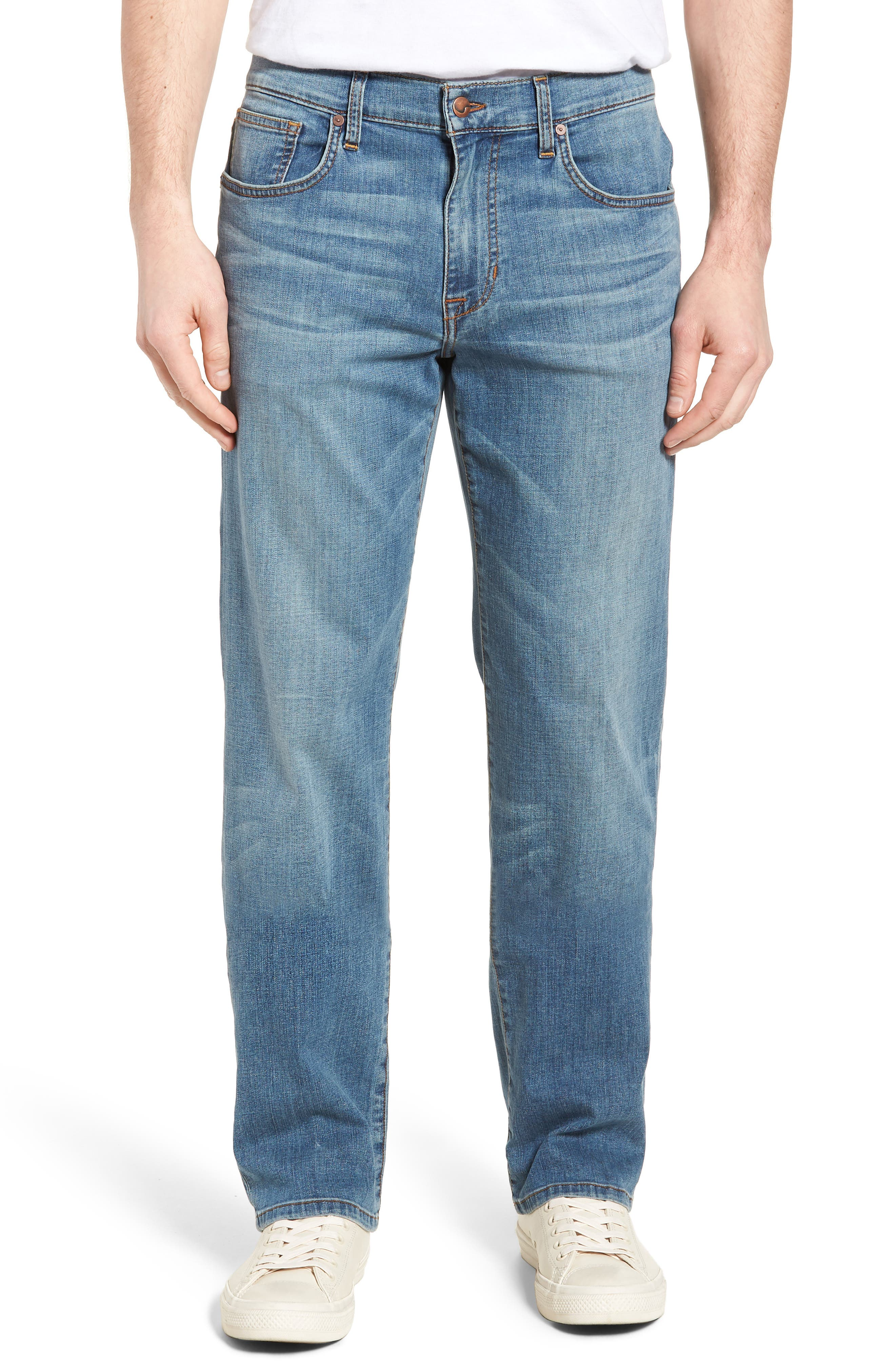 Classic Straight Fit Jeans,                             Main thumbnail 1, color,                             Redding