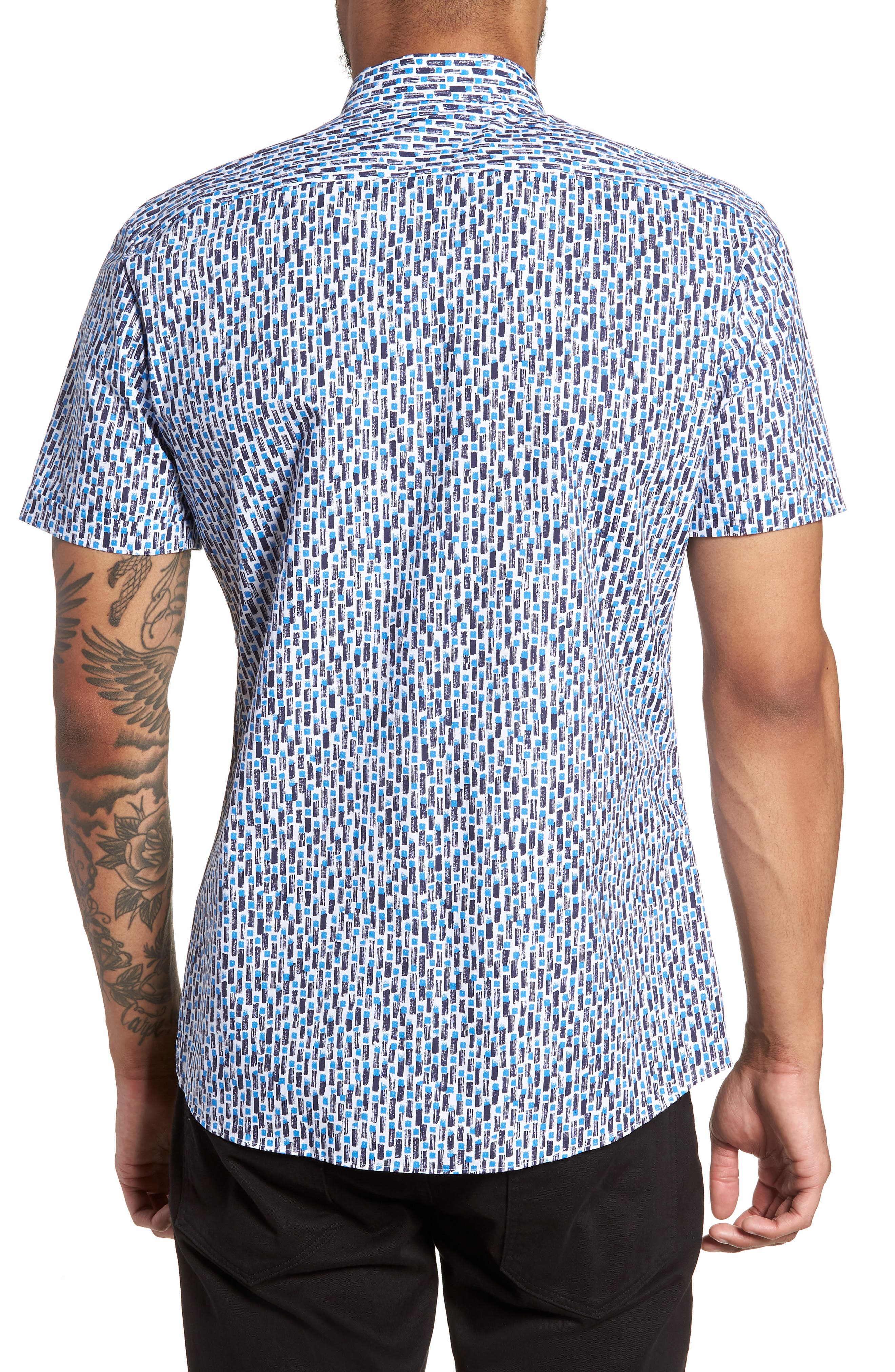 Empson Trim Fit Print Short Sleeve Sport Shirt,                             Alternate thumbnail 2, color,                             Blue
