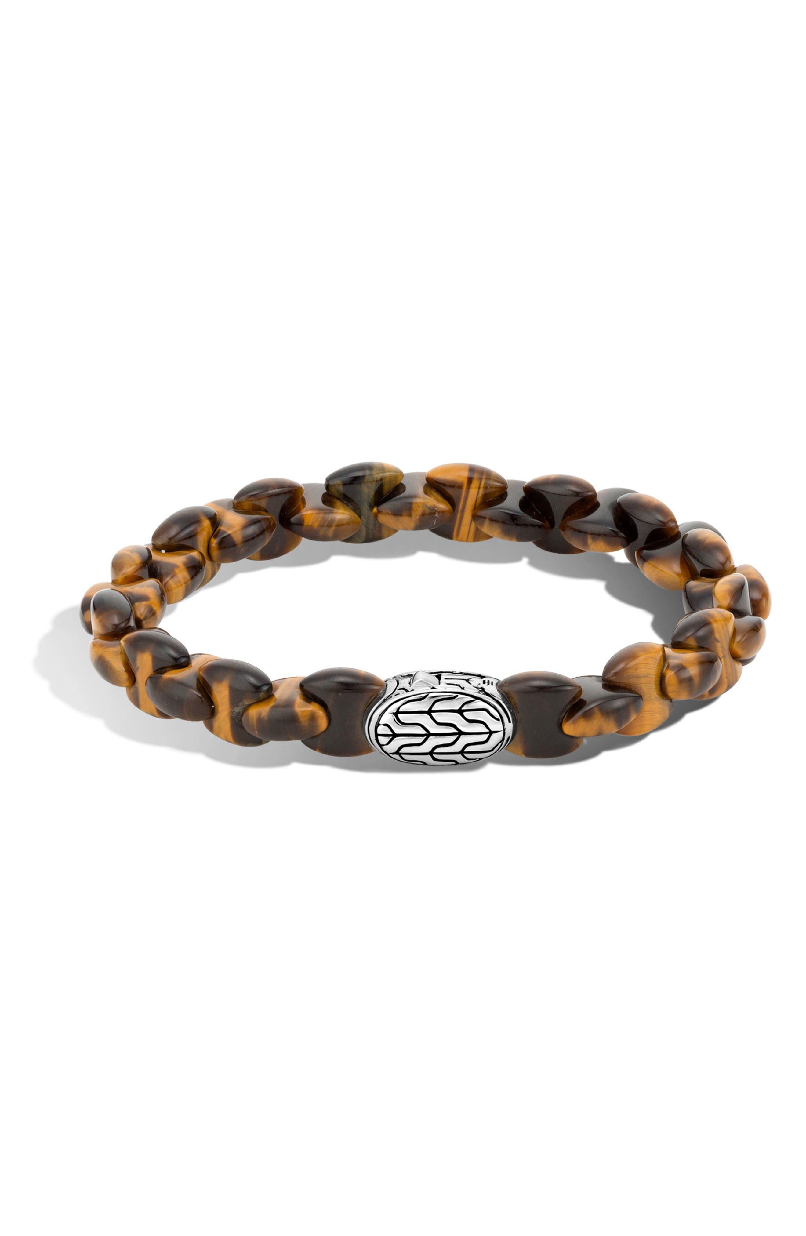 Men's Classic Chain Bead Bracelet,                         Main,                         color, Silver/ Tiger Eye