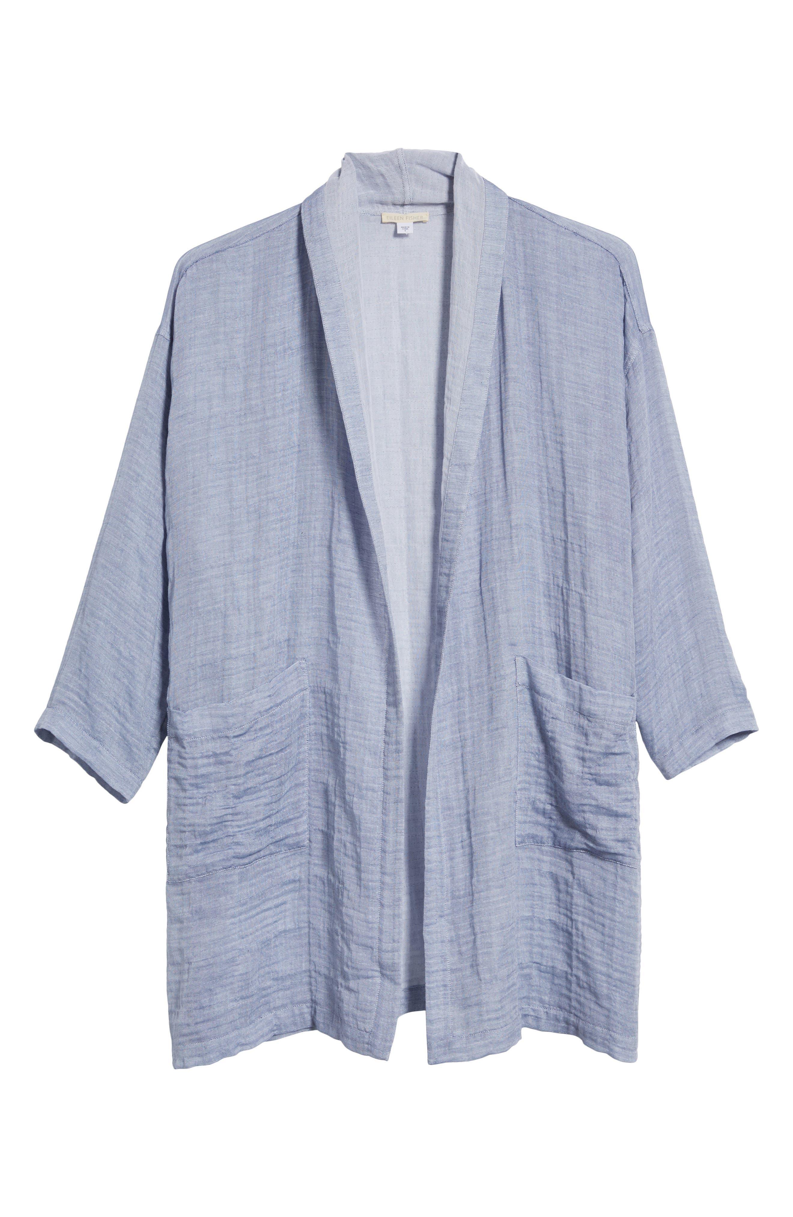 Linen Blend Kimono Jacket,                             Alternate thumbnail 7, color,                             Chambray