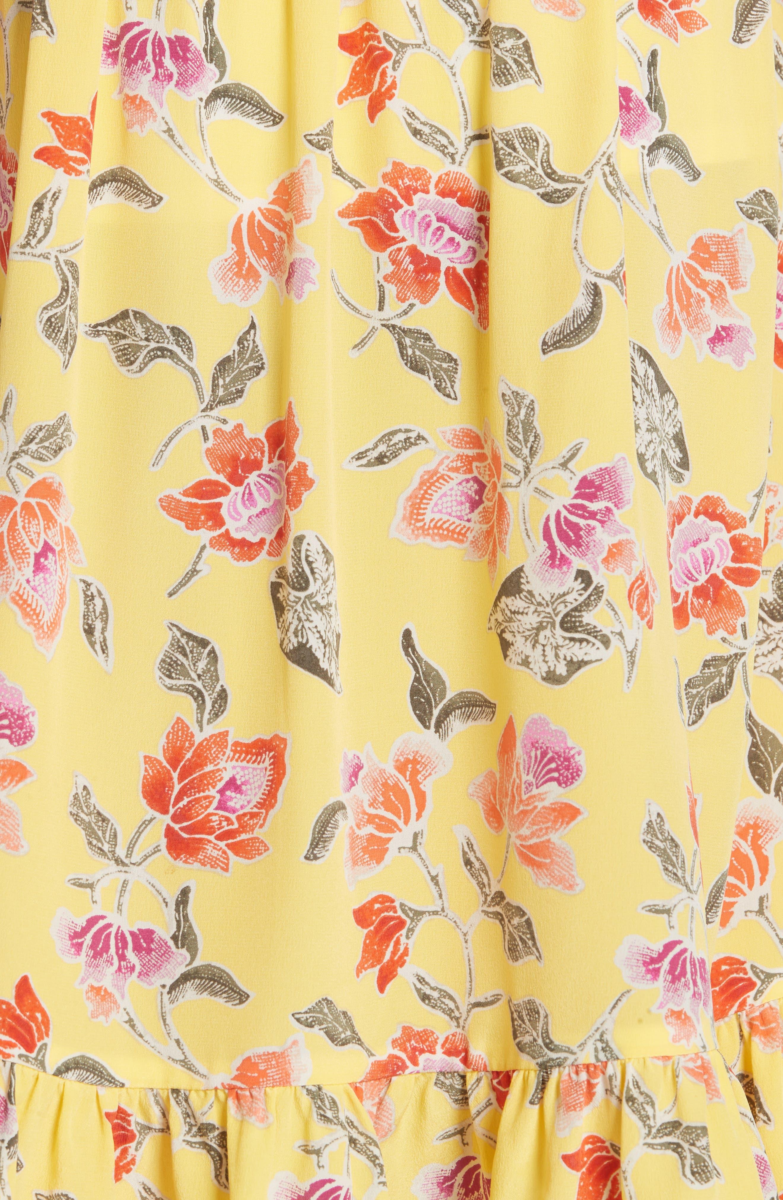 Denisha Floral Ruffle Silk Skirt,                             Alternate thumbnail 5, color,                             Pineapple