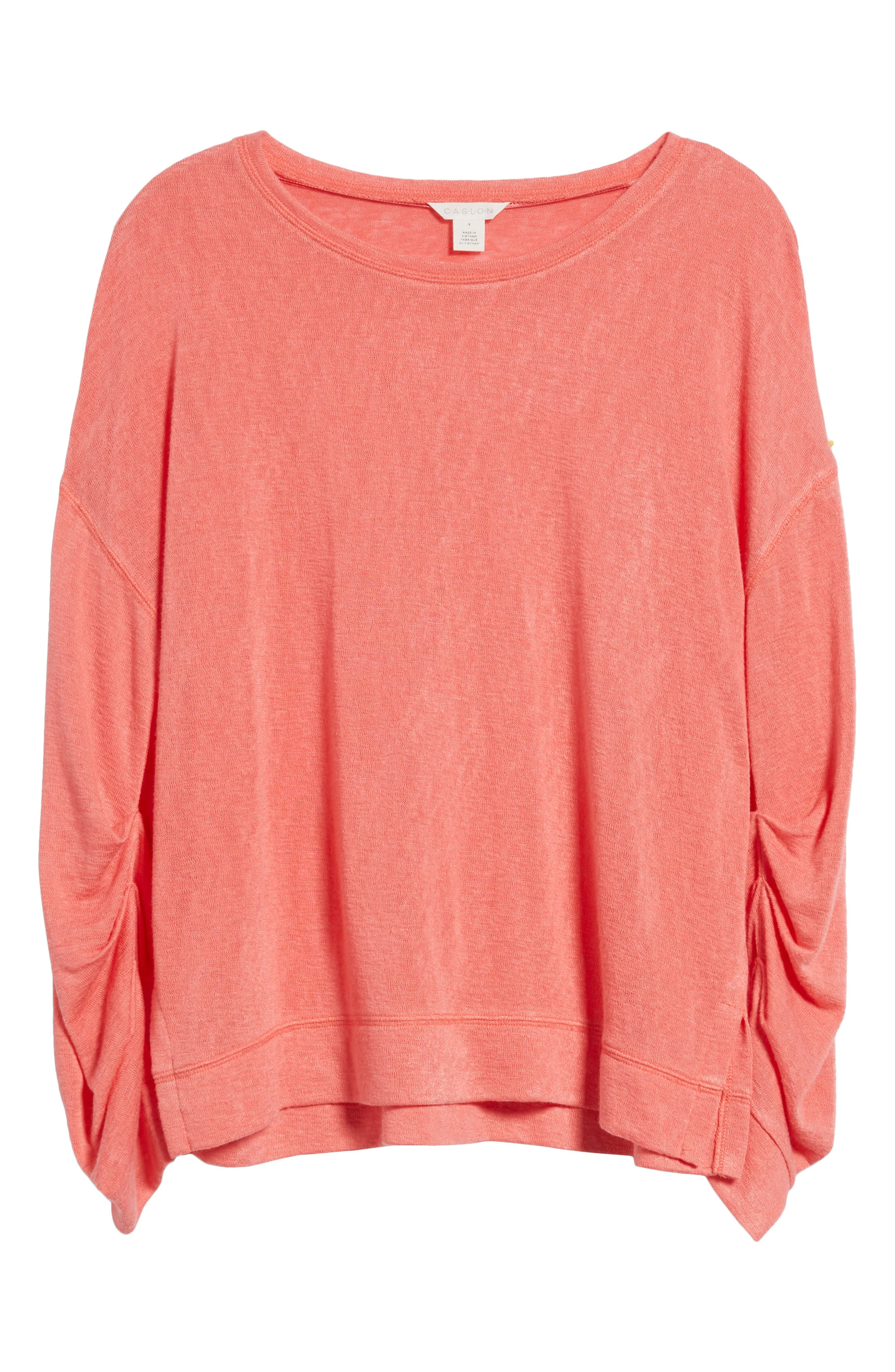 Tuck Sleeve Sweatshirt,                             Alternate thumbnail 7, color,                             Coral Rose