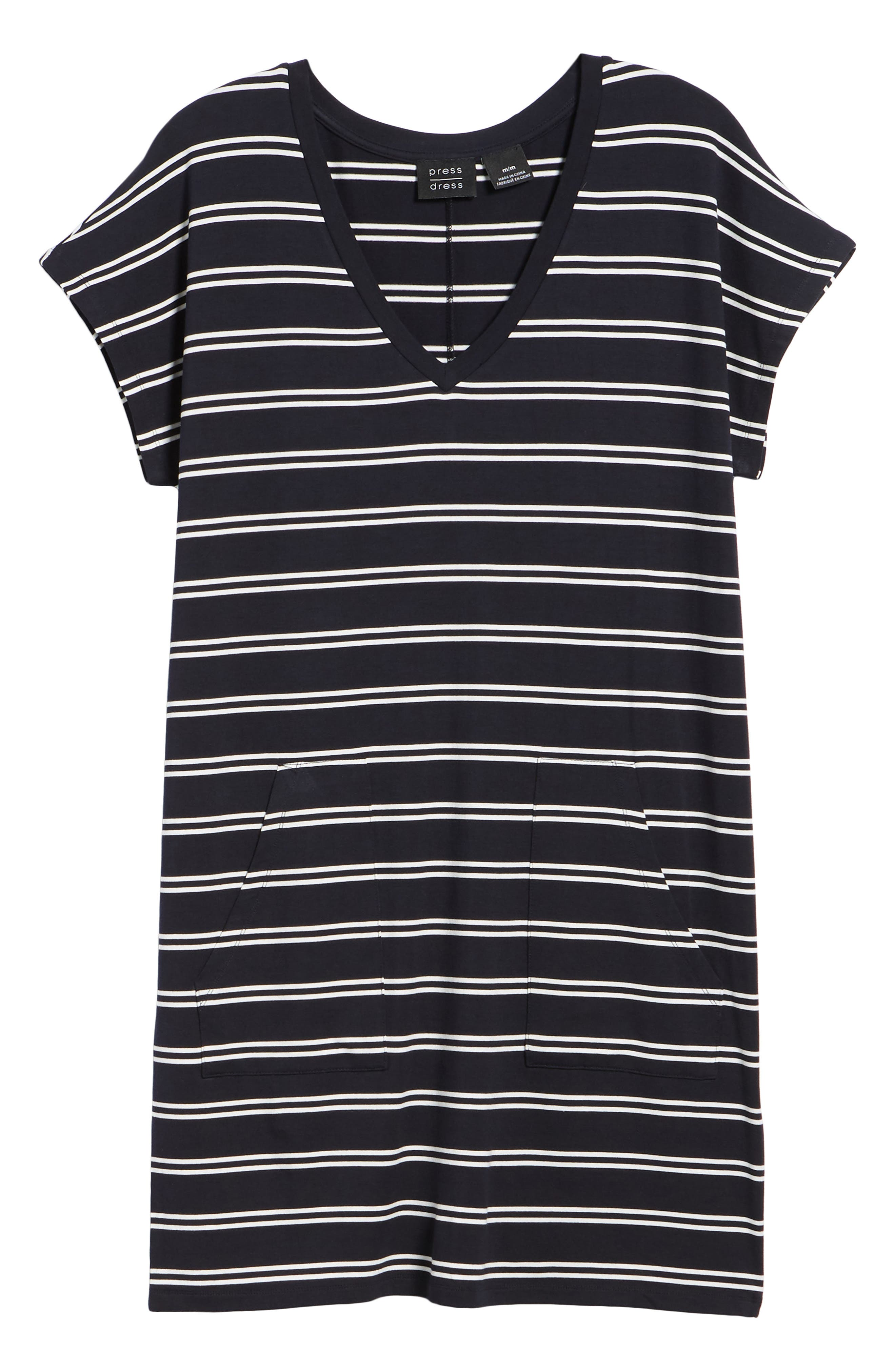 Stripe T-Shirt Dress,                             Alternate thumbnail 7, color,                             Deepest Navy White