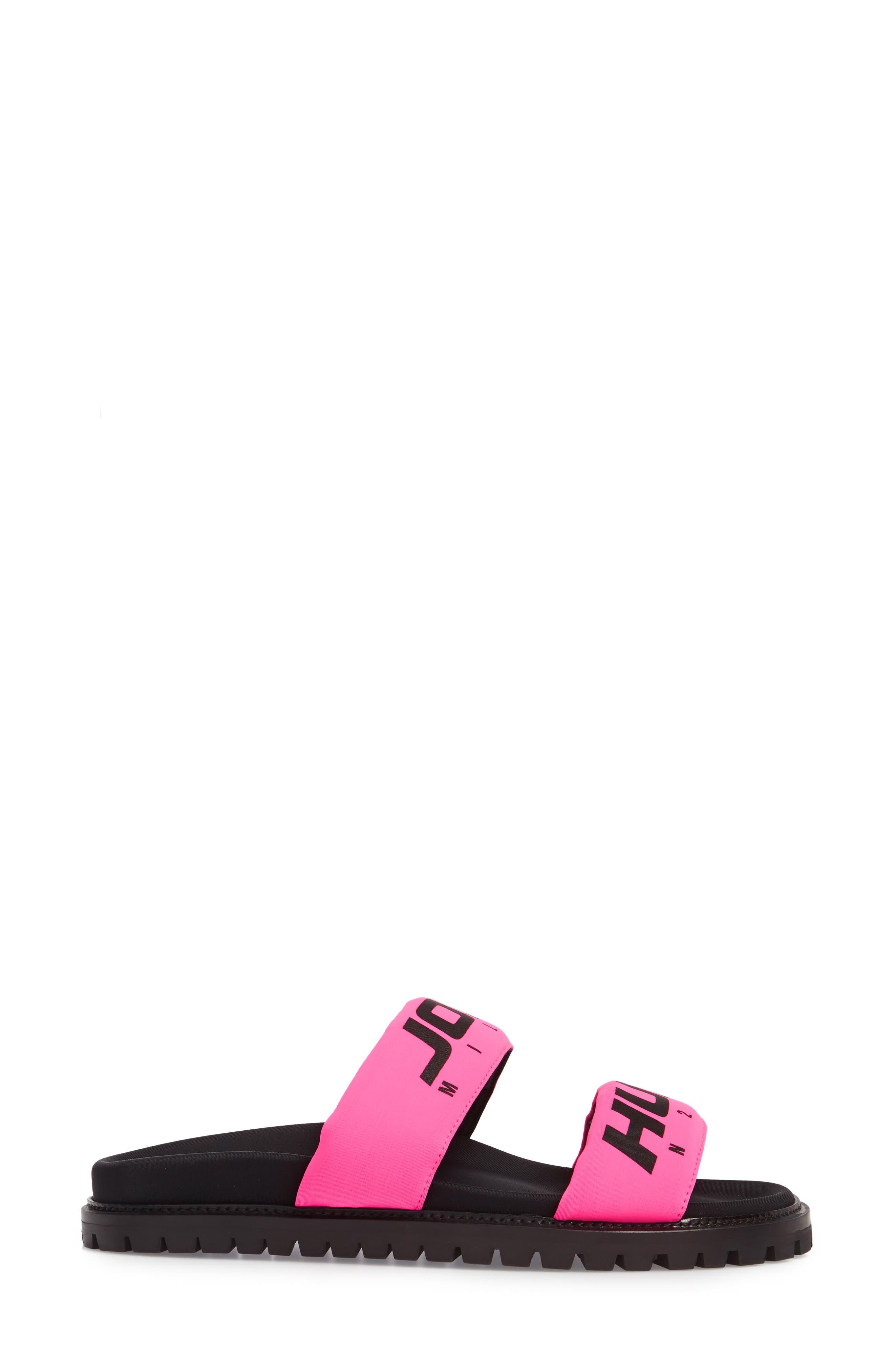 Fuxia Slide Sandal,                             Alternate thumbnail 3, color,                             Fuxia