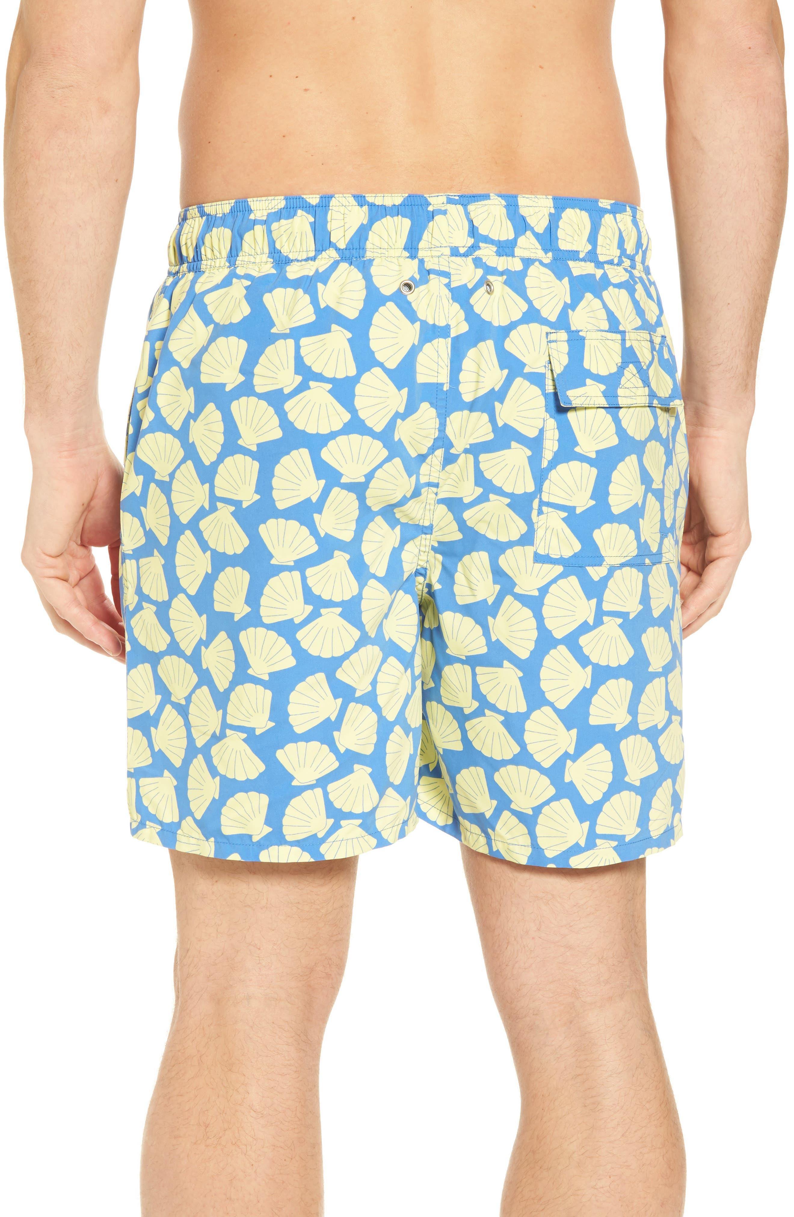 Shell Print Swim Trunks,                             Alternate thumbnail 2, color,                             Yellow