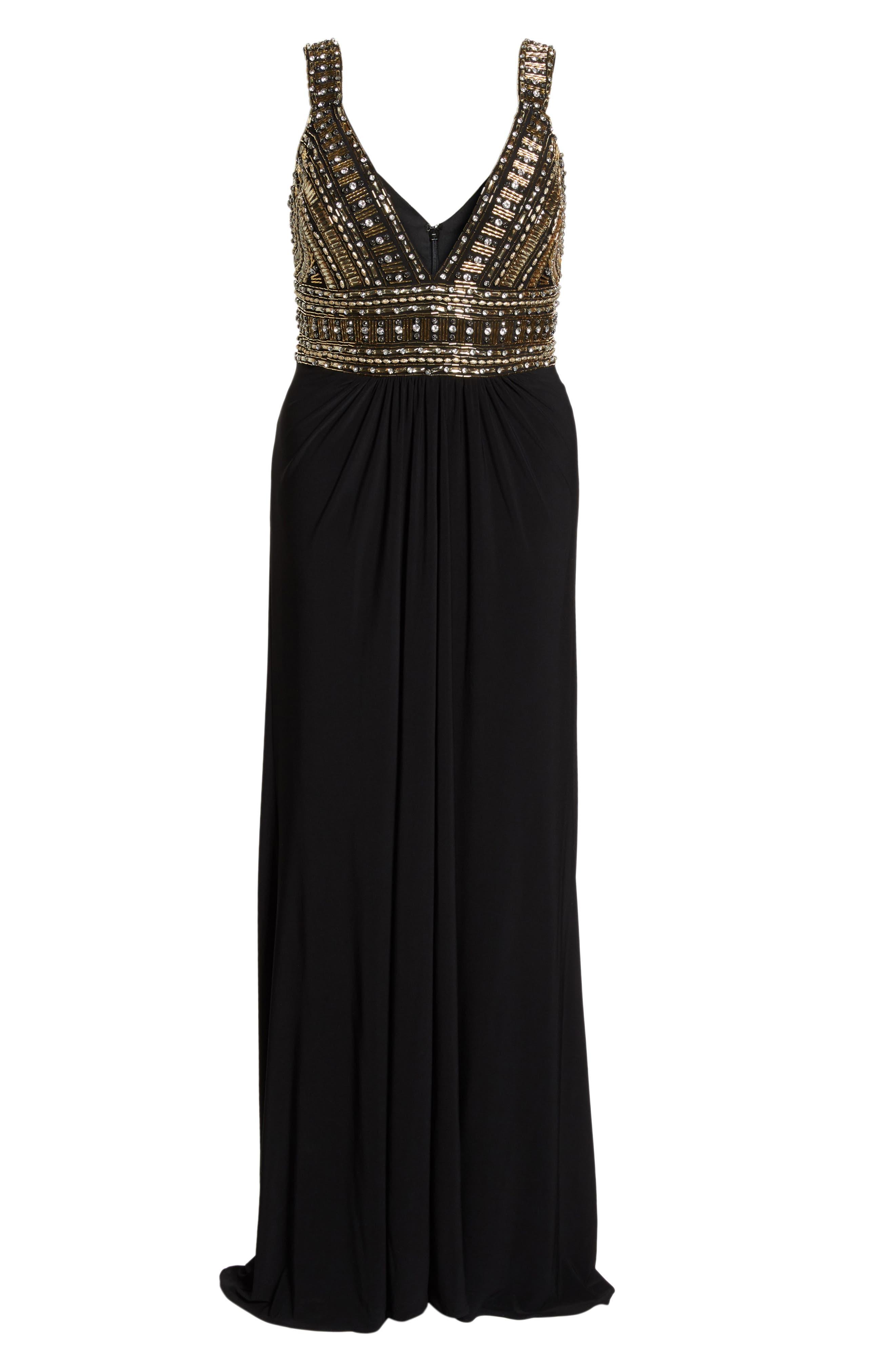 Embellished Gown,                             Alternate thumbnail 6, color,                             Black/ Gold