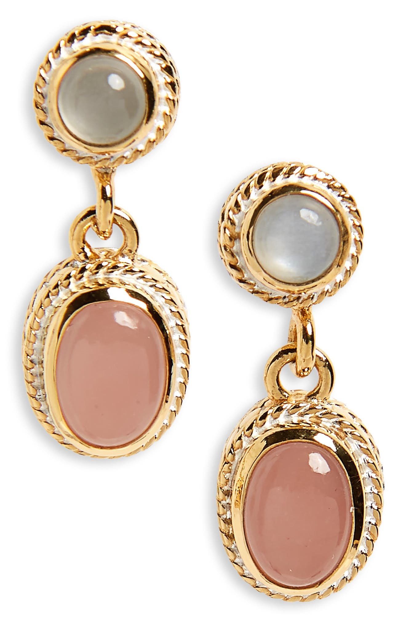 Double Drop Pearl Earrings,                             Main thumbnail 1, color,                             Gold/ Guava Quartz/ Moonstone