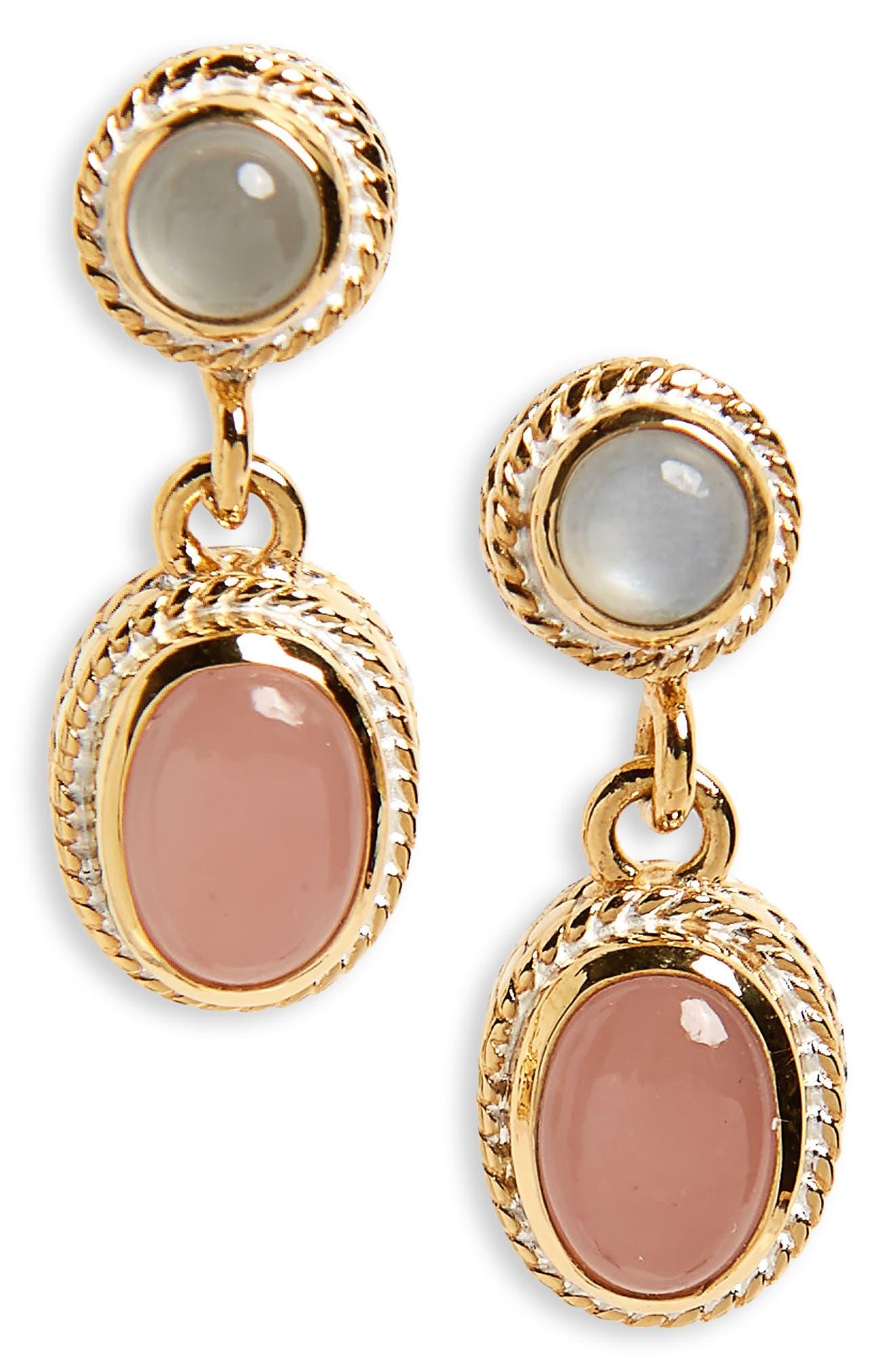 Double Drop Pearl Earrings,                         Main,                         color, Gold/ Guava Quartz/ Moonstone
