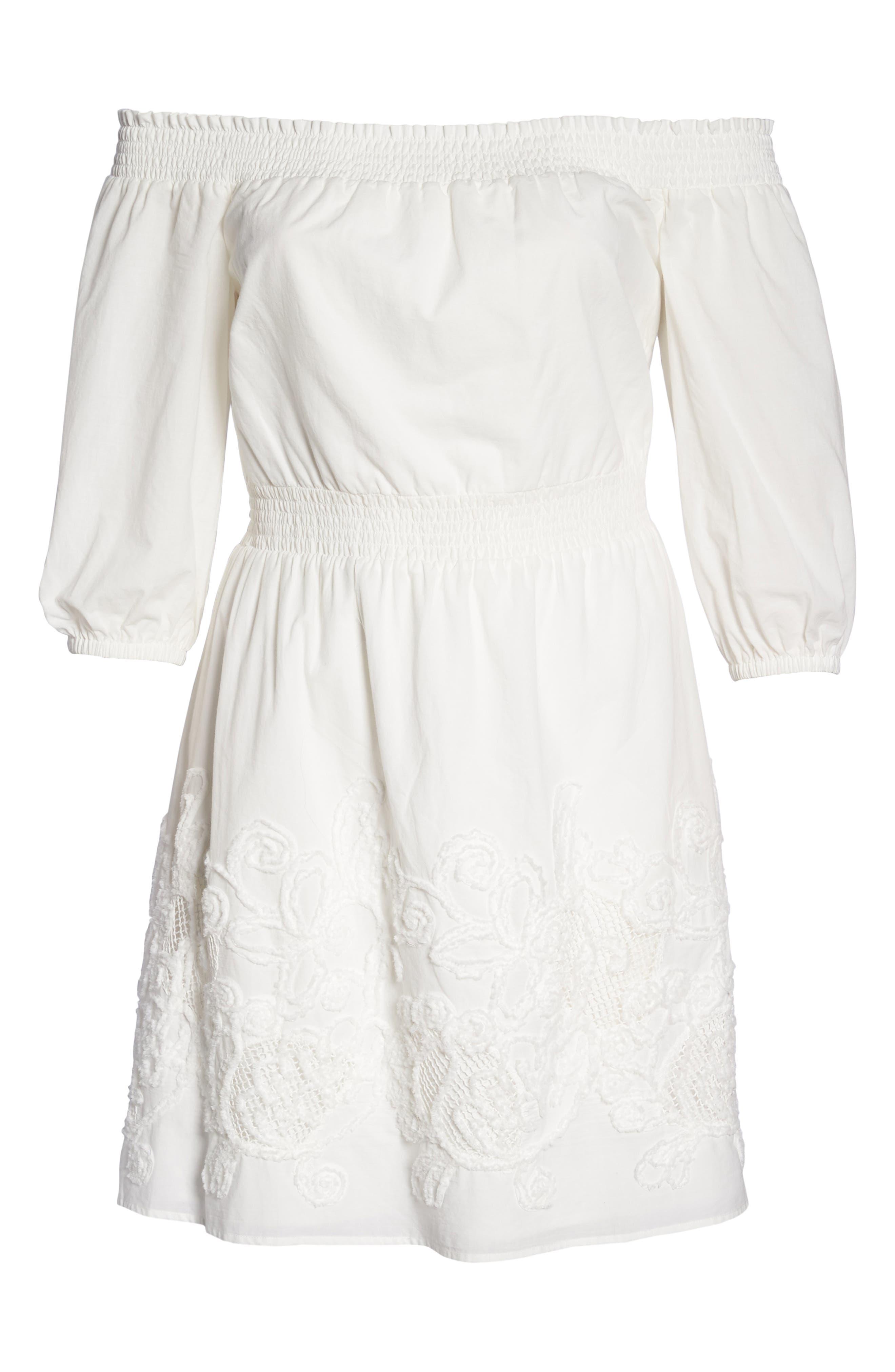 Off the Shoulder Peasant Dress,                             Alternate thumbnail 6, color,                             White Snow
