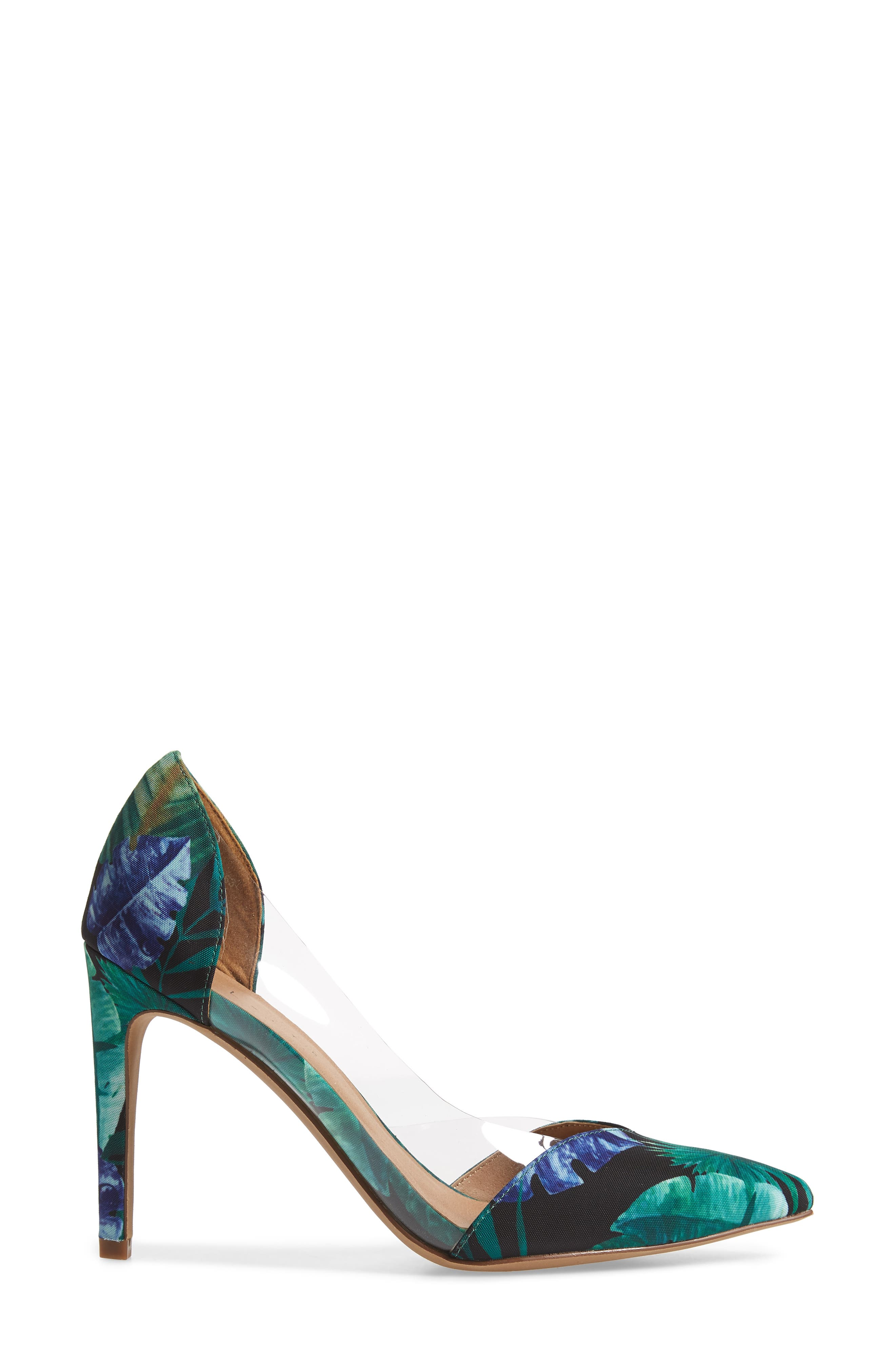Parker Clear d'Orsay Pump,                             Alternate thumbnail 3, color,                             Green Multi Fabric Print