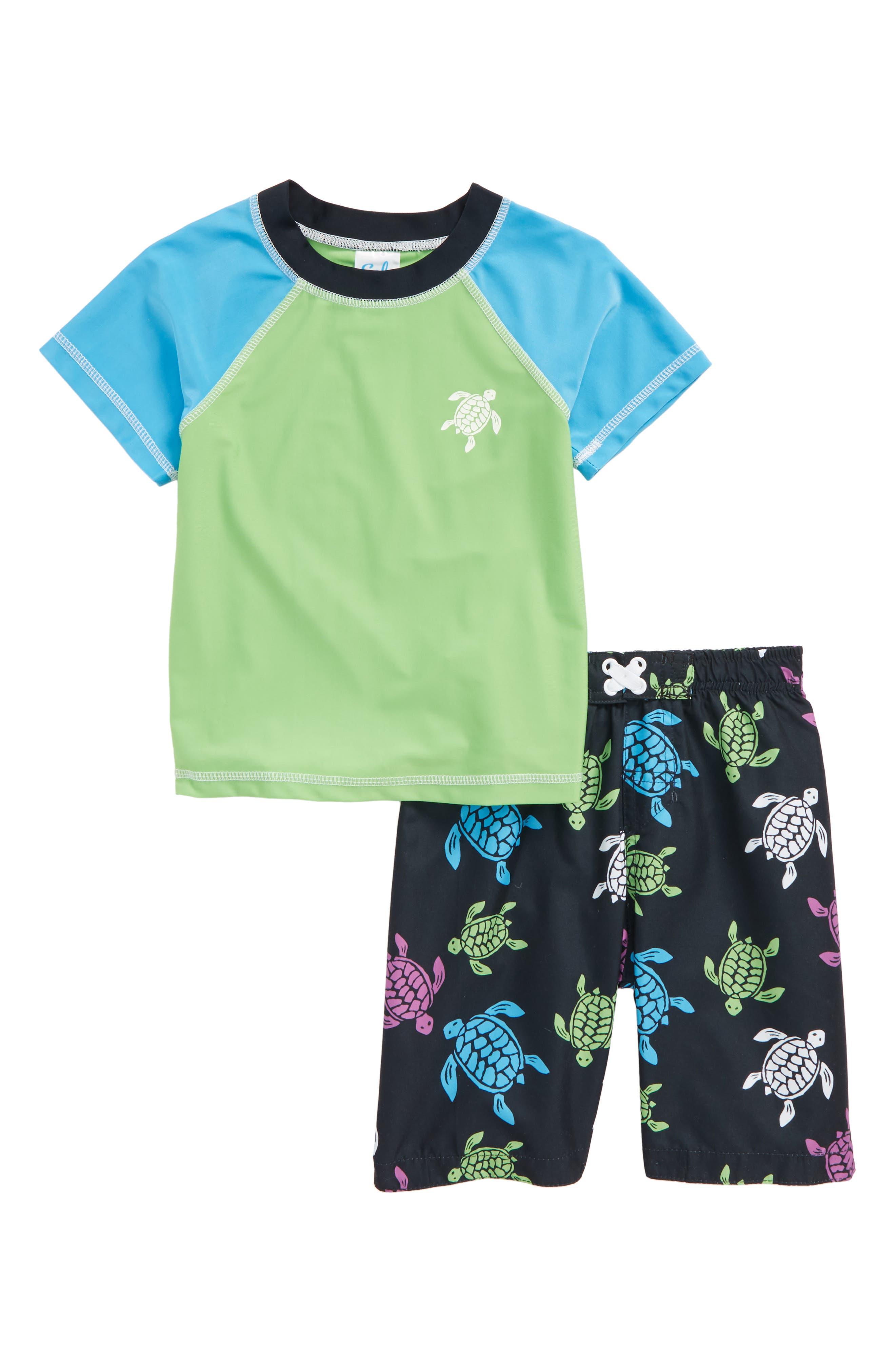 Turtle Scope Two-Piece Rashguard Swimsuit,                         Main,                         color, Navy
