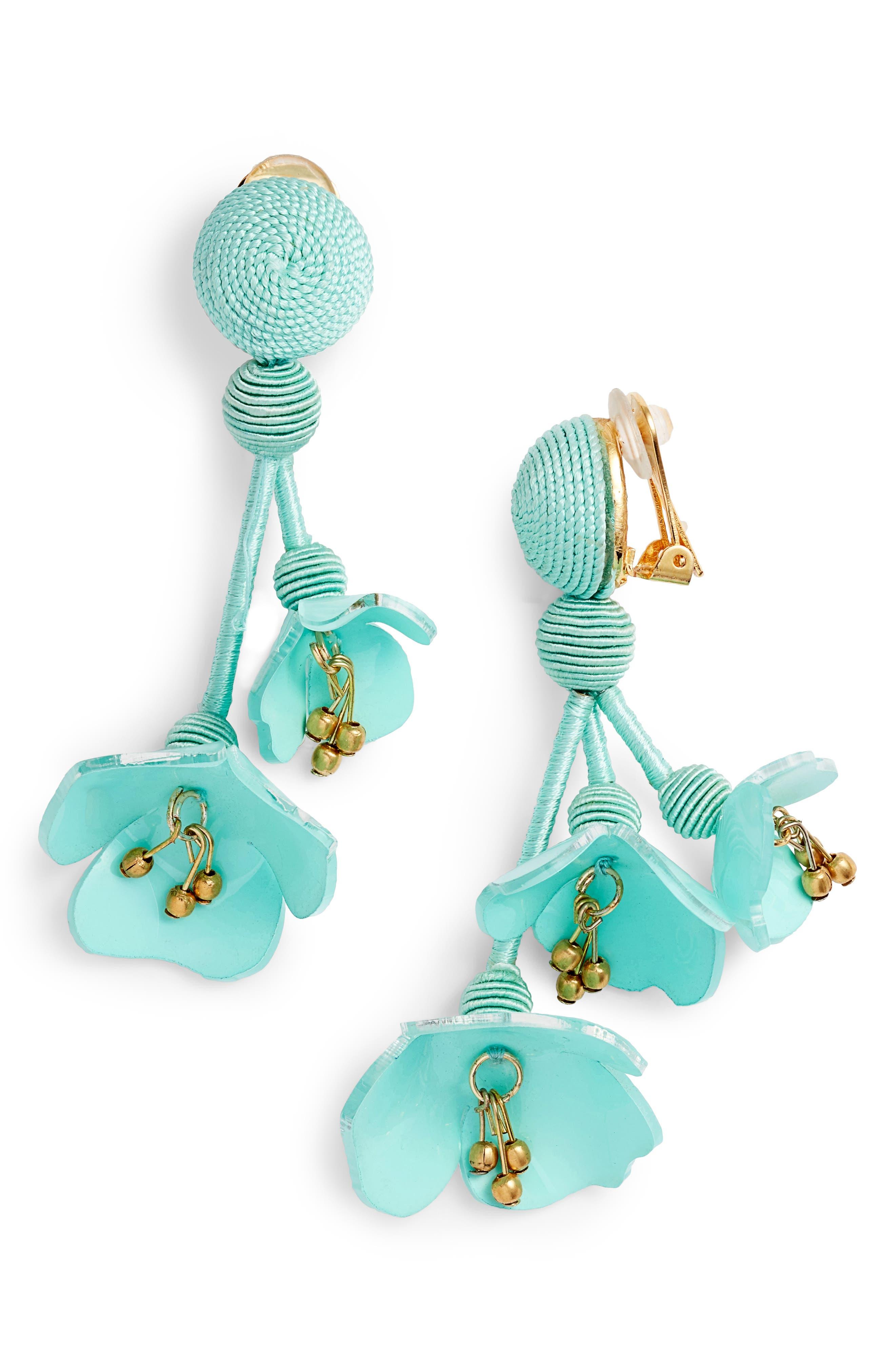 Falling Flower Drop Earrings,                             Main thumbnail 1, color,                             Pistachio