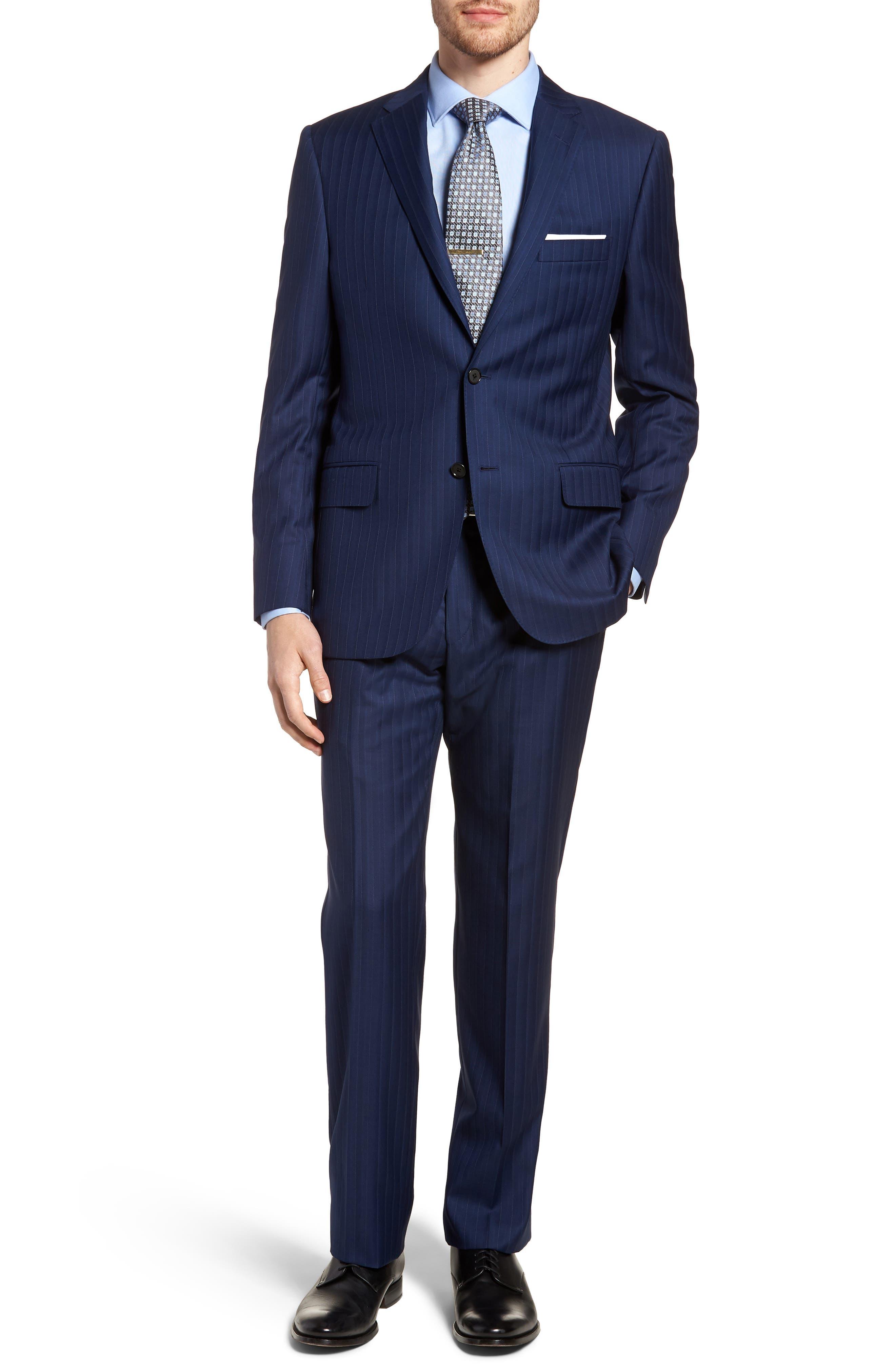 Classic B Fit Stripe Wool Suit,                             Main thumbnail 1, color,                             Navy Stripe