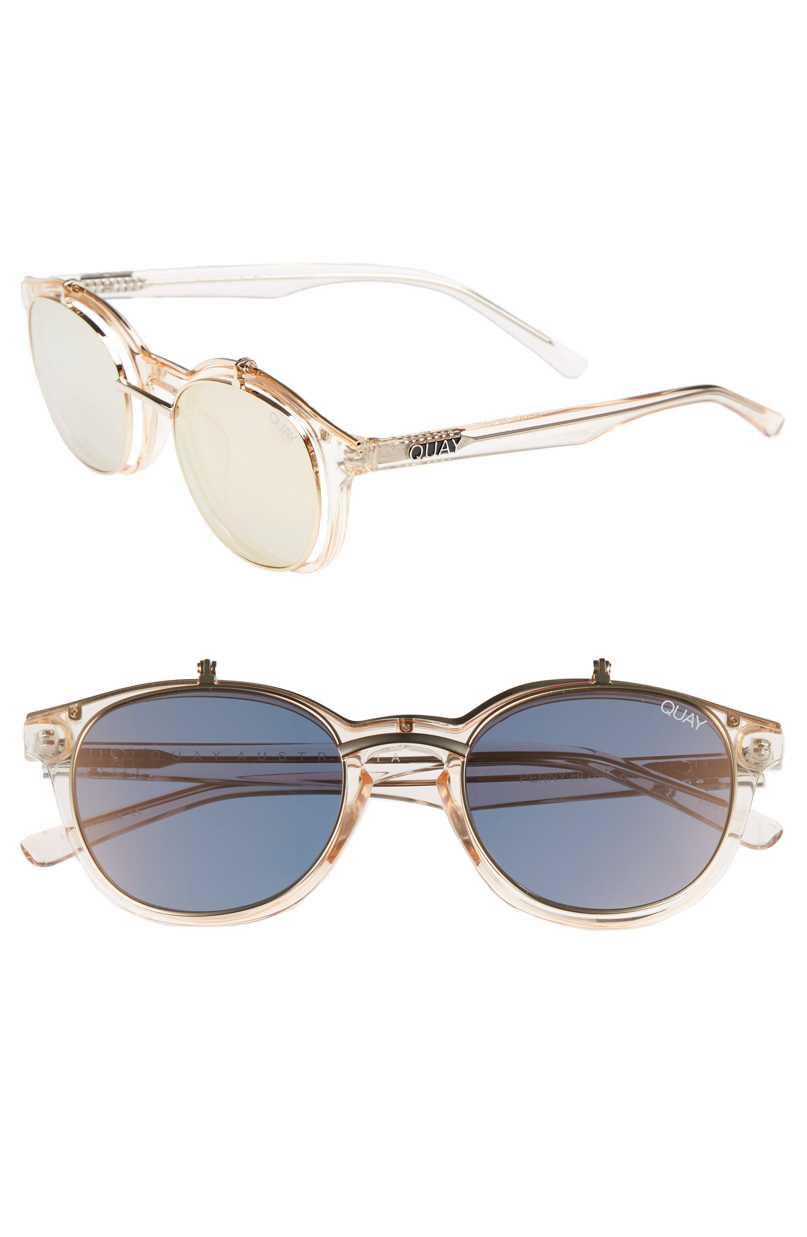 Penny Royal 55mm Flip-Up Round Sunglasses,                         Main,                         color, Champagne/ Gold
