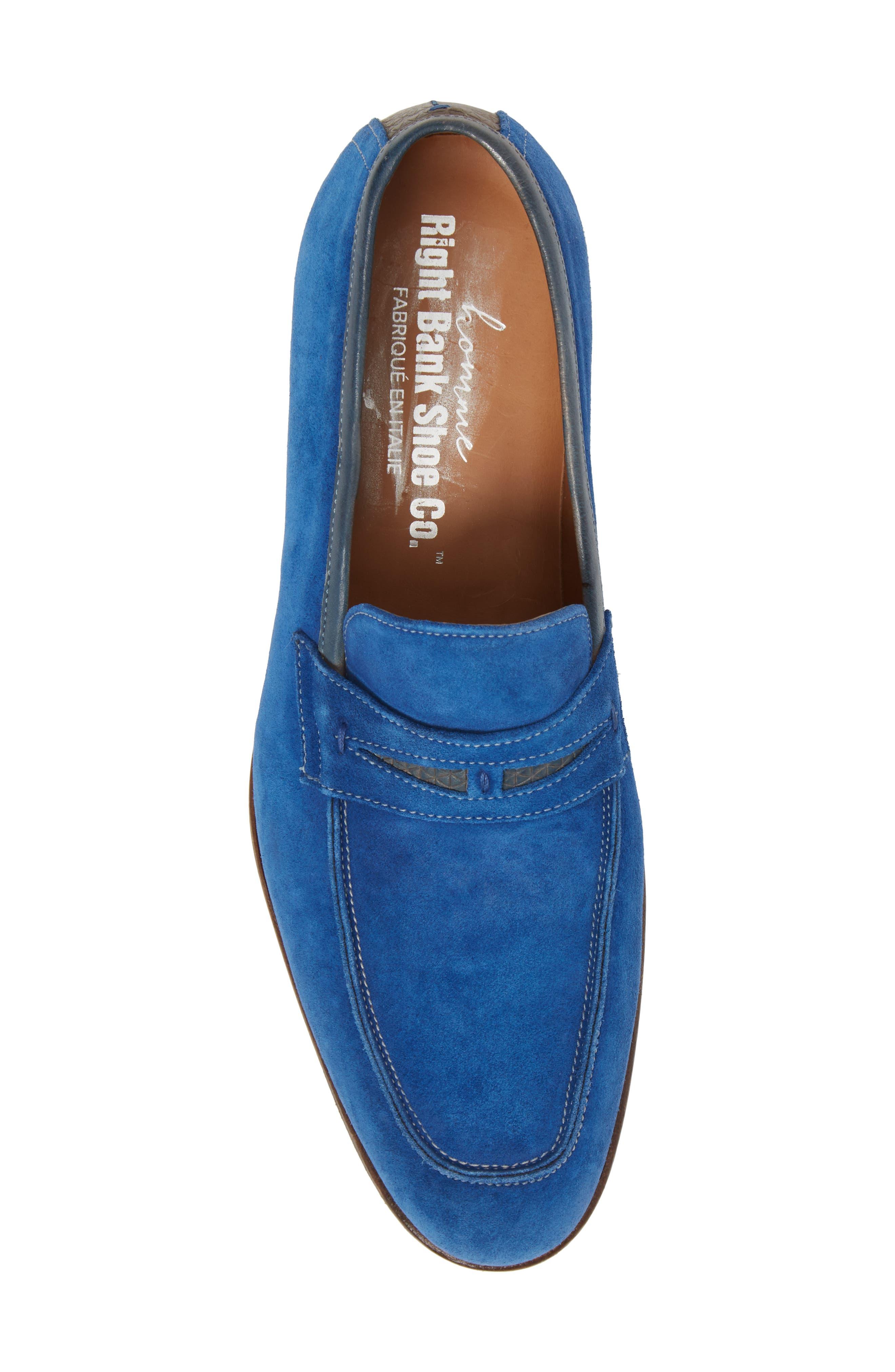Lex Apron Toe Penny Loafer,                             Alternate thumbnail 5, color,                             Blue Suede