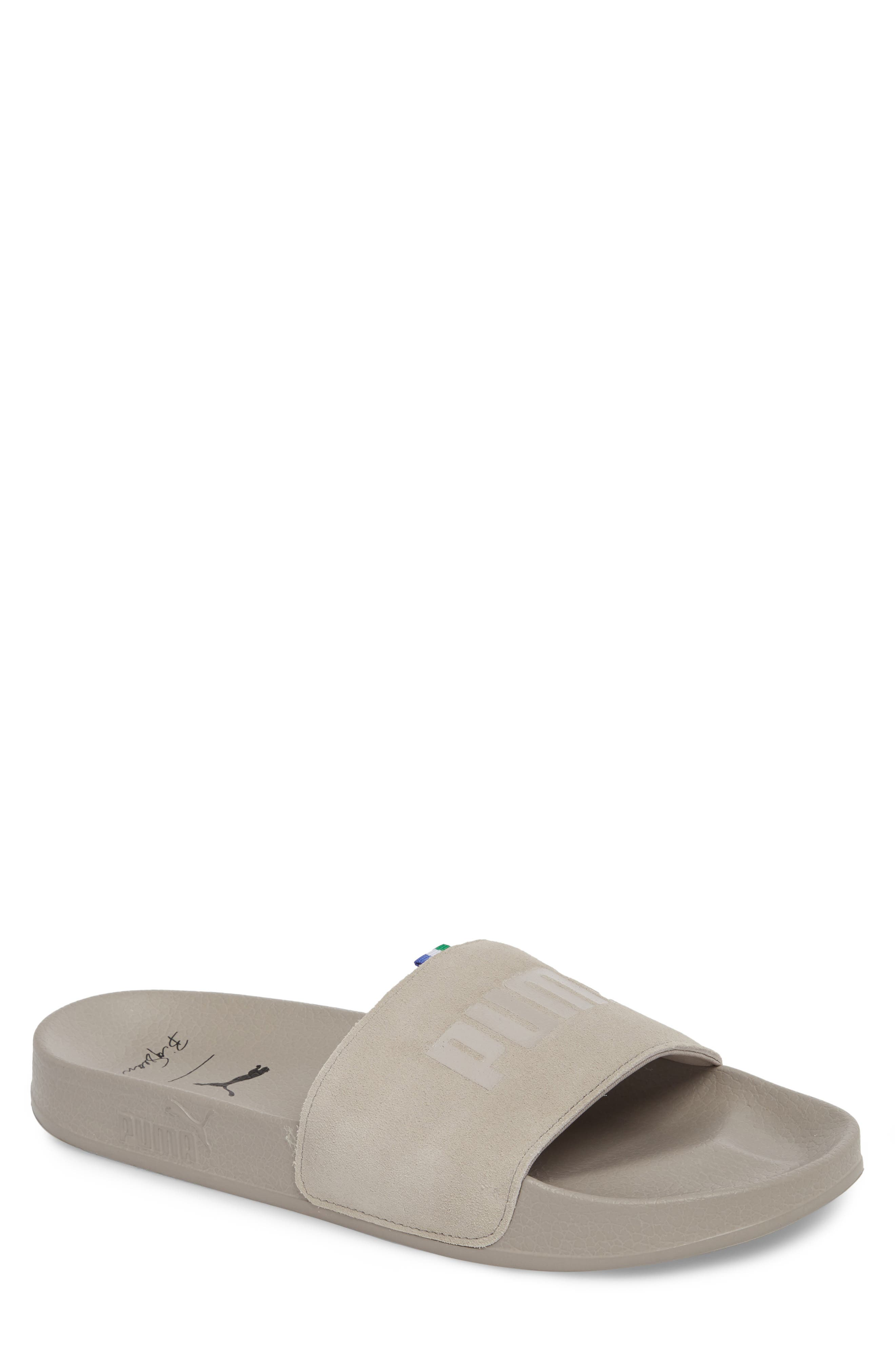 x Big Sean Leadcat Slide Sandal,                             Main thumbnail 1, color,                             Whisper White Leather/ Suede