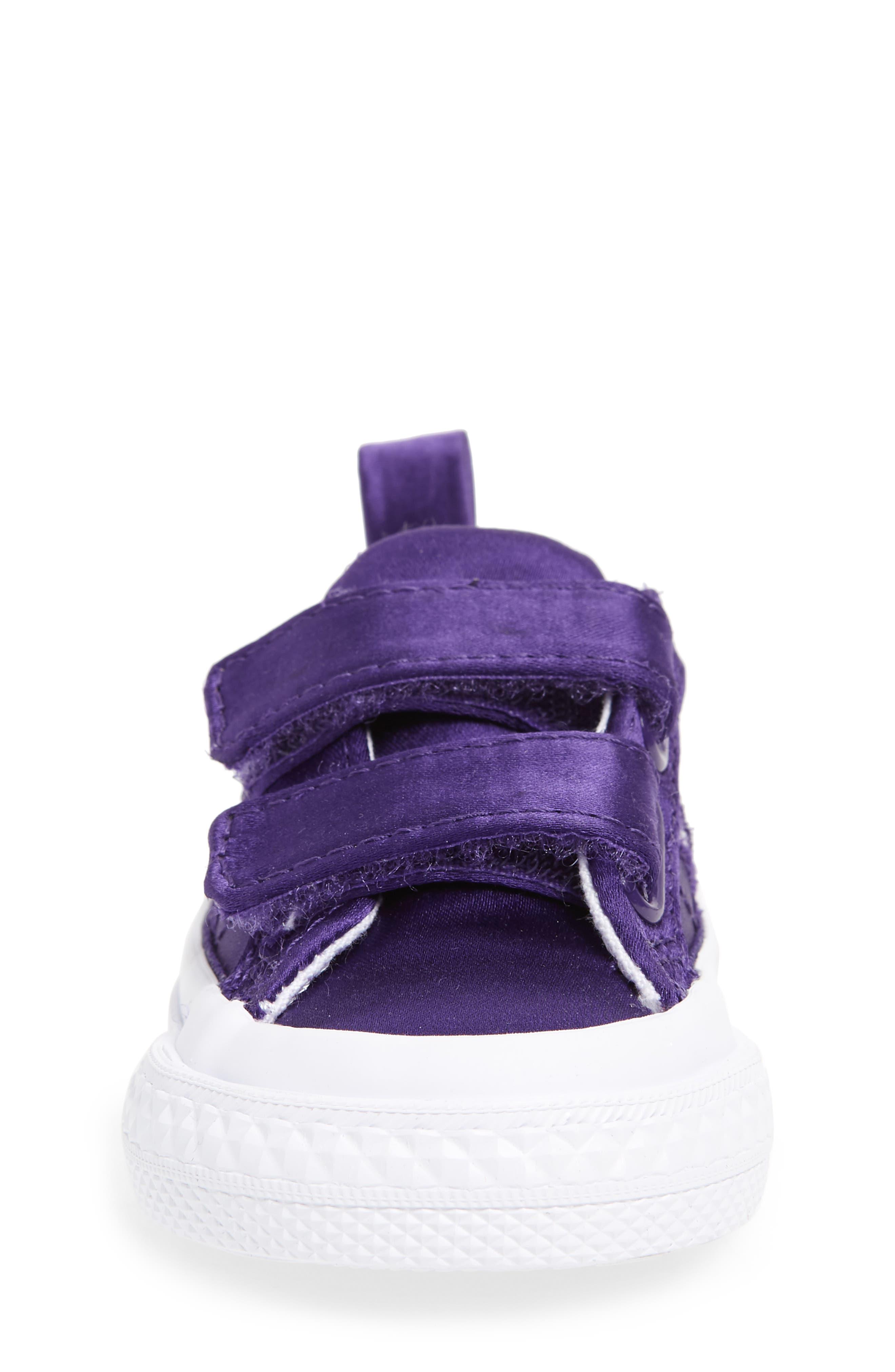 One Star Satin 2V Low Top Sneaker,                             Alternate thumbnail 4, color,                             Court Purple