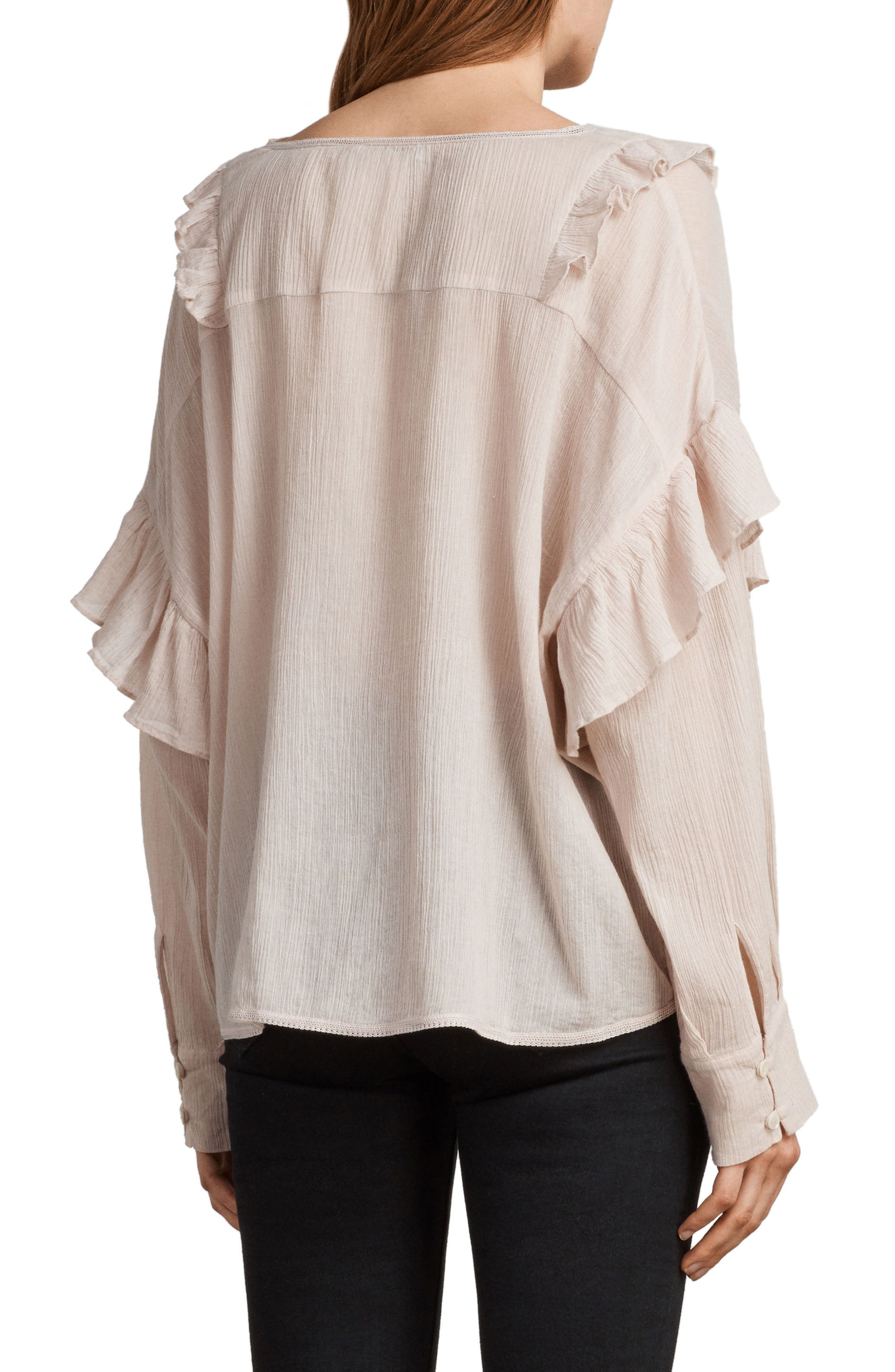 Isa Ruffle Top,                             Alternate thumbnail 2, color,                             Pale Pink