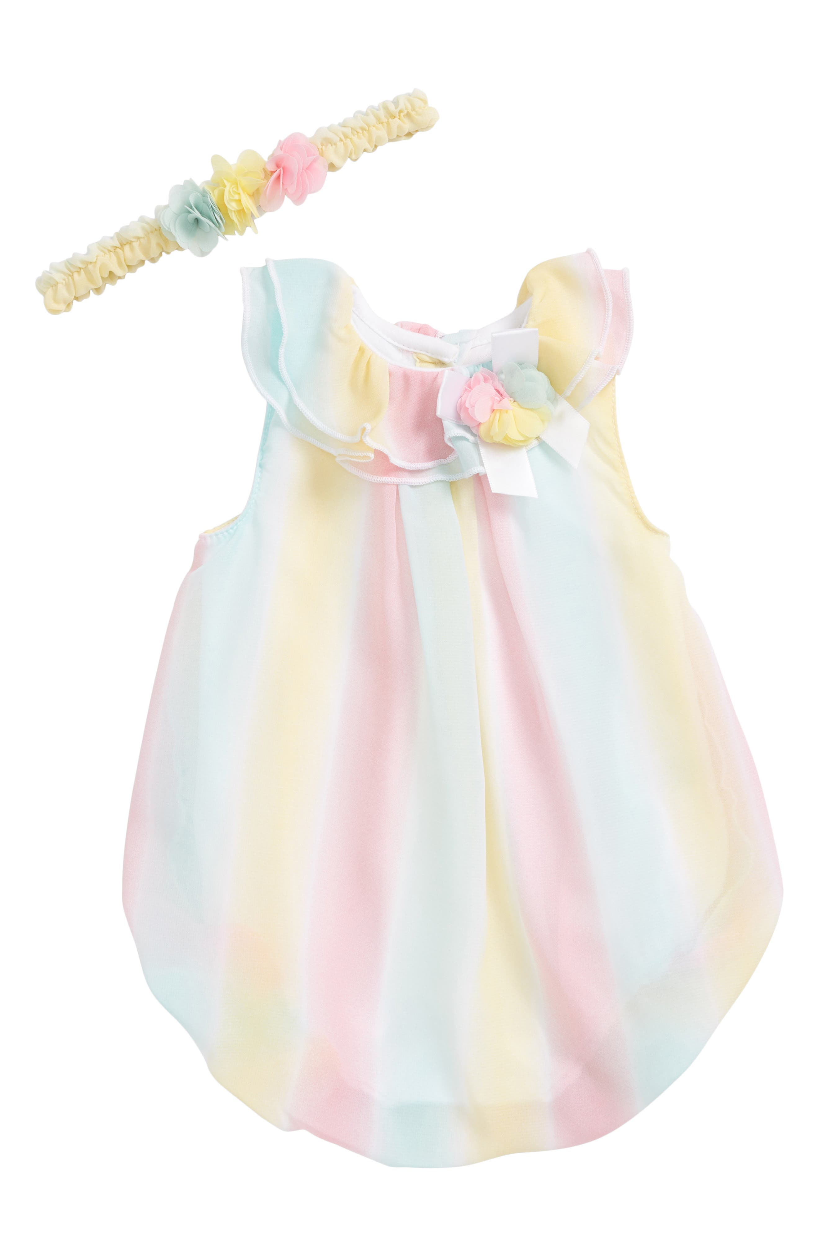 Little Me Stripe Bubble Romper & Head Wrap Set (Baby Girls)