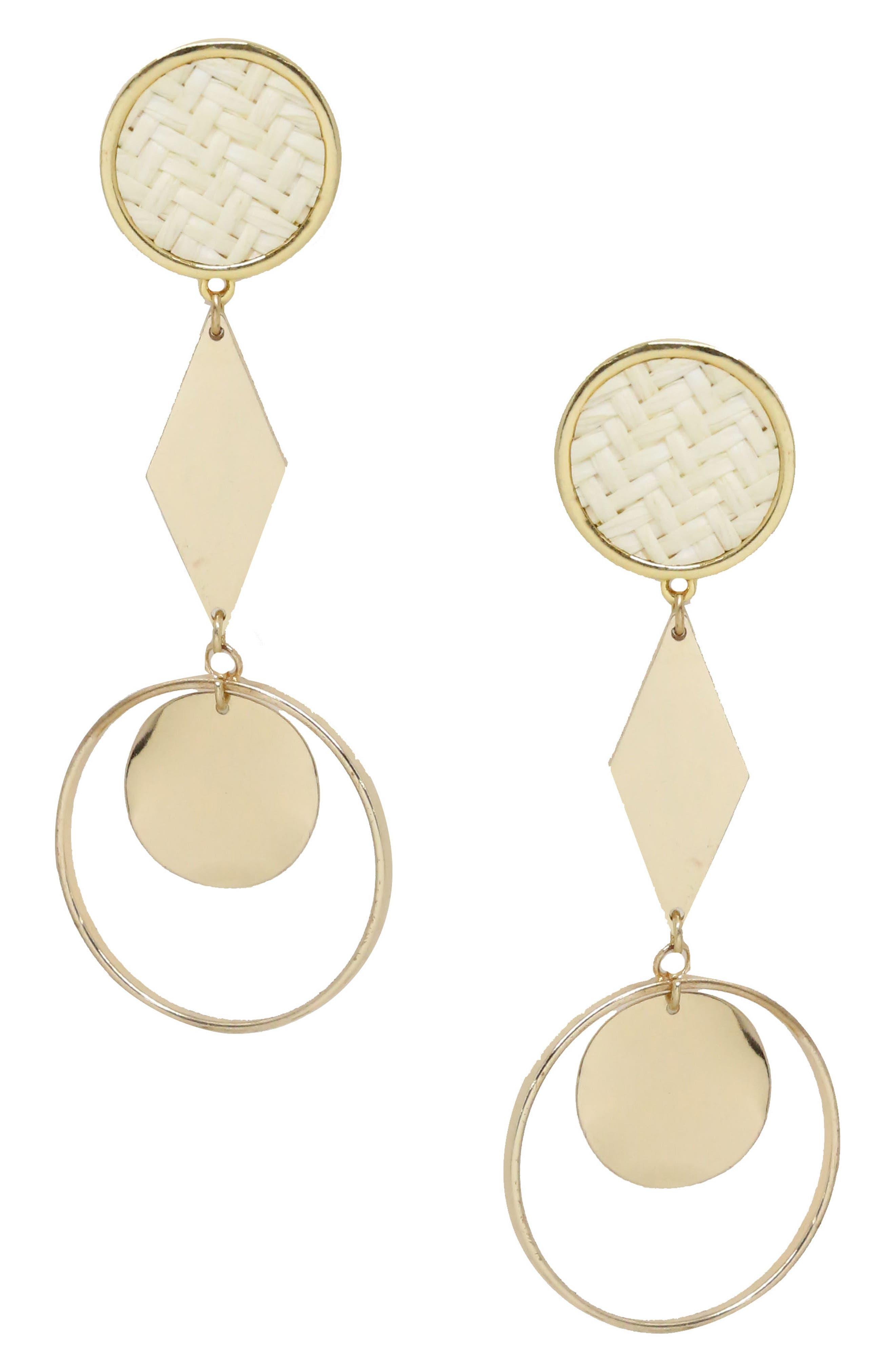 Geo Earrings,                             Main thumbnail 1, color,                             Gold/ Cream