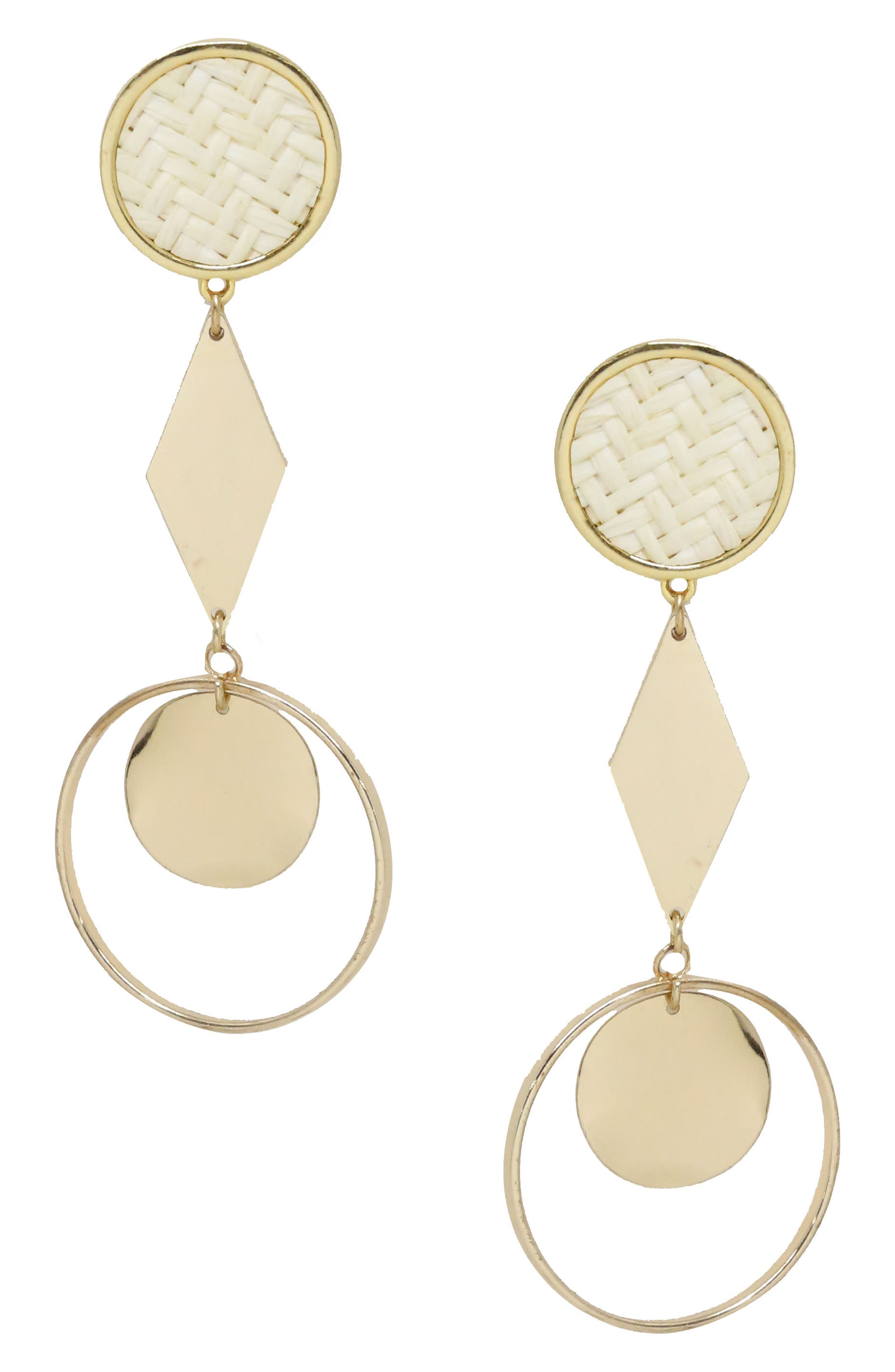 Geo Earrings,                         Main,                         color, Gold/ Cream
