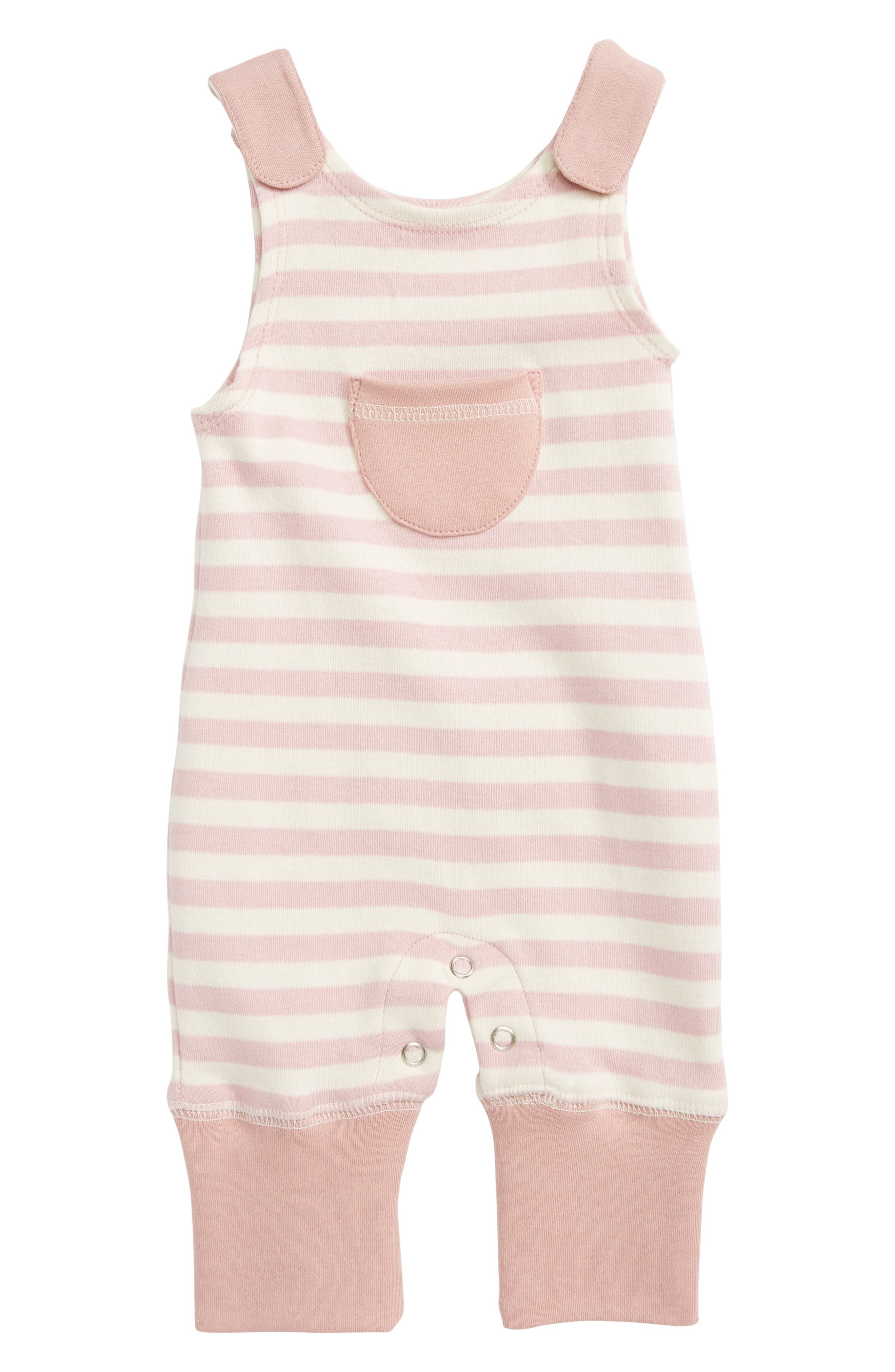Stripe Organic Cotton Harem Romper,                             Main thumbnail 1, color,                             Mauve/ Beige