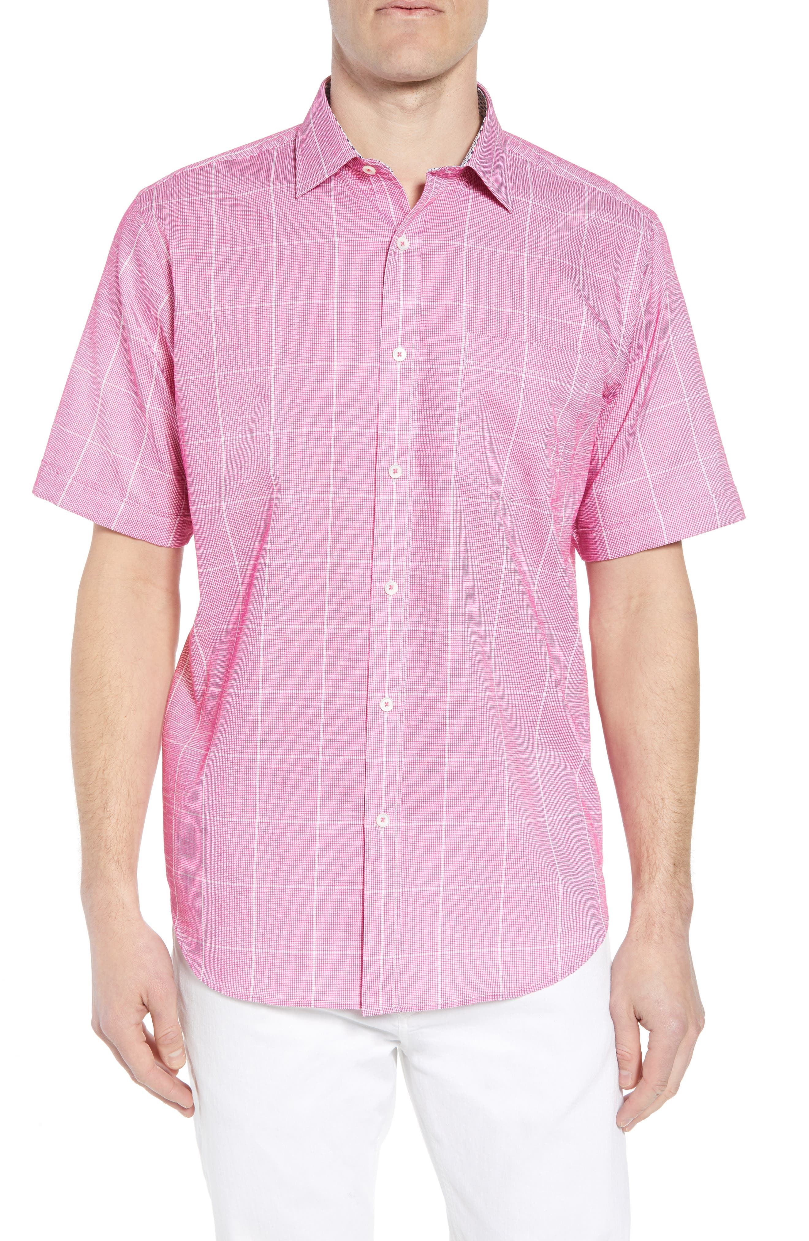 Classic Fit Check Sport Shirt,                         Main,                         color, Berry