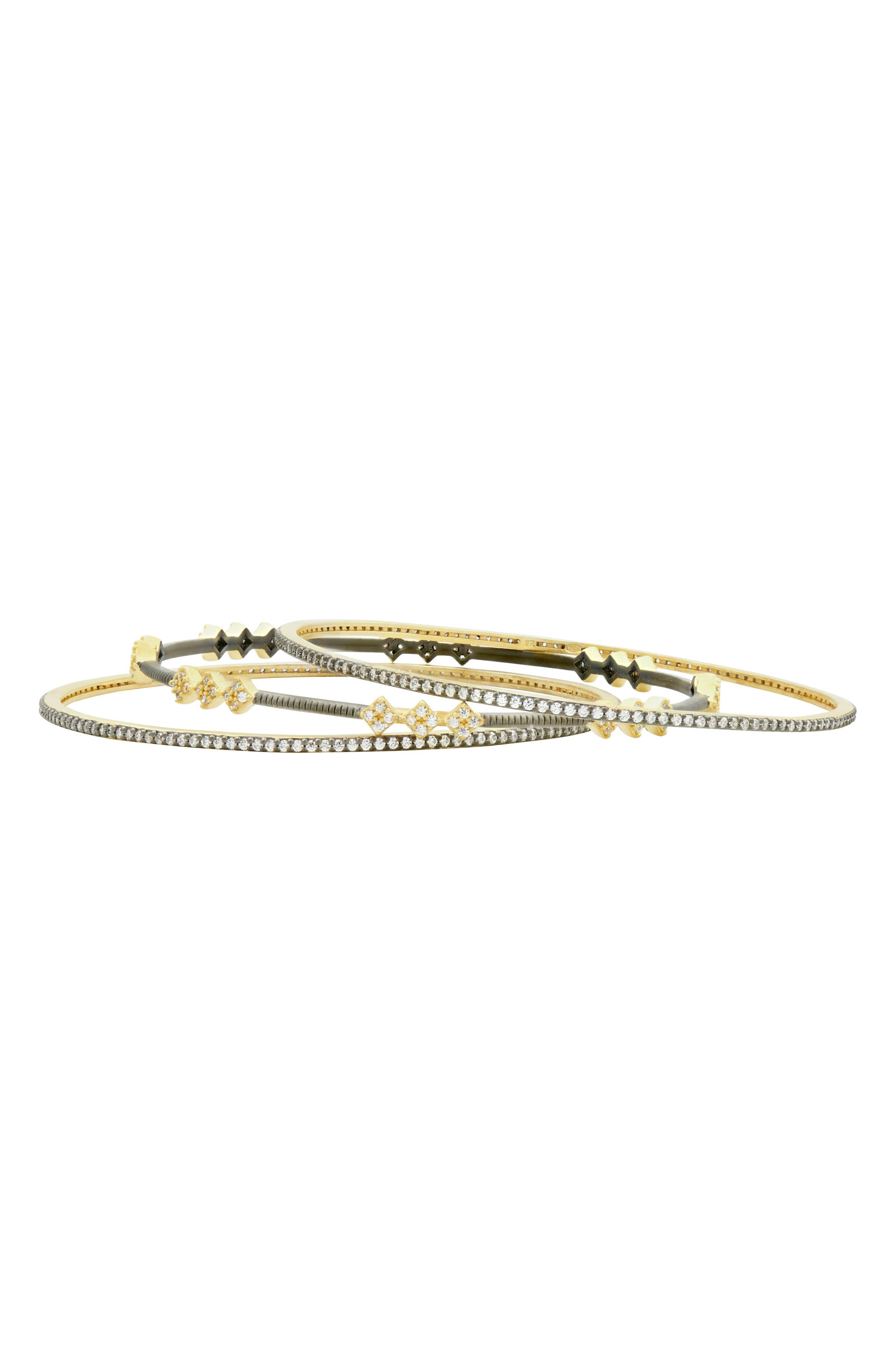 Rose Dor 3-Stack Bracelets,                             Alternate thumbnail 2, color,                             Black/ Gold