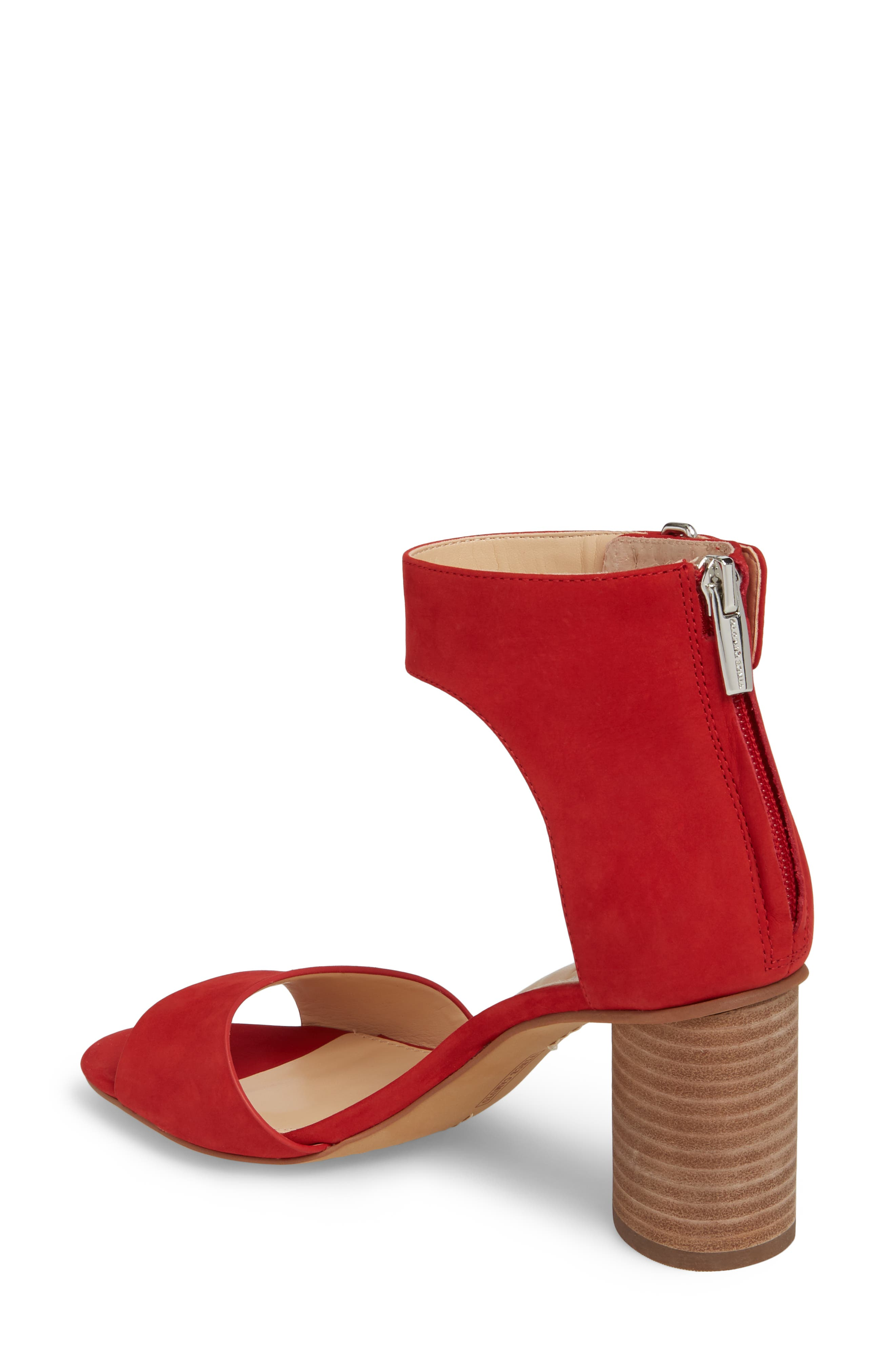 Jannali Ankle Strap Sandal,                             Alternate thumbnail 2, color,                             Cherry Red Leather