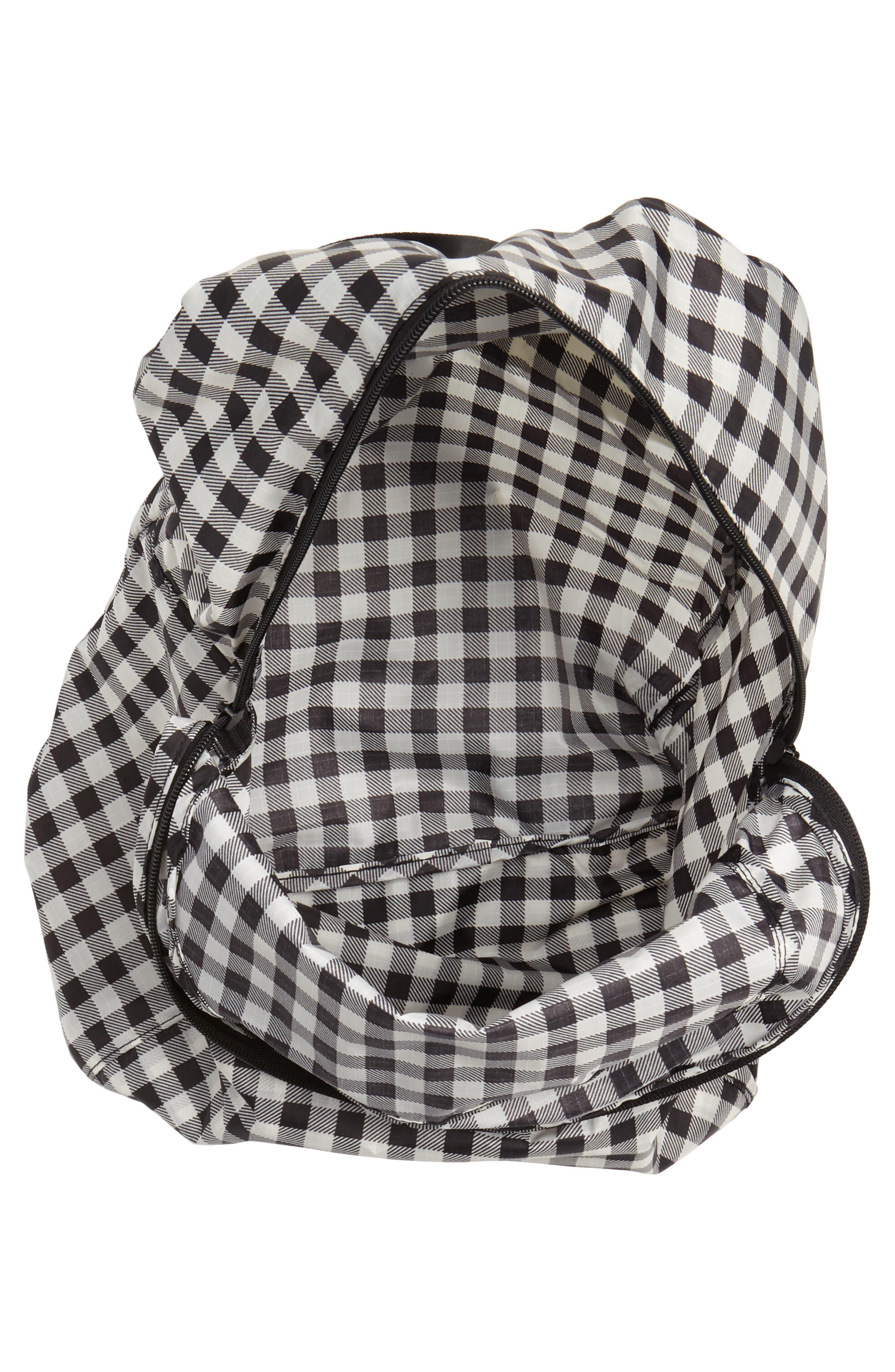 Ripstop Nylon Backpack,                             Alternate thumbnail 4, color,                             Black Gingham