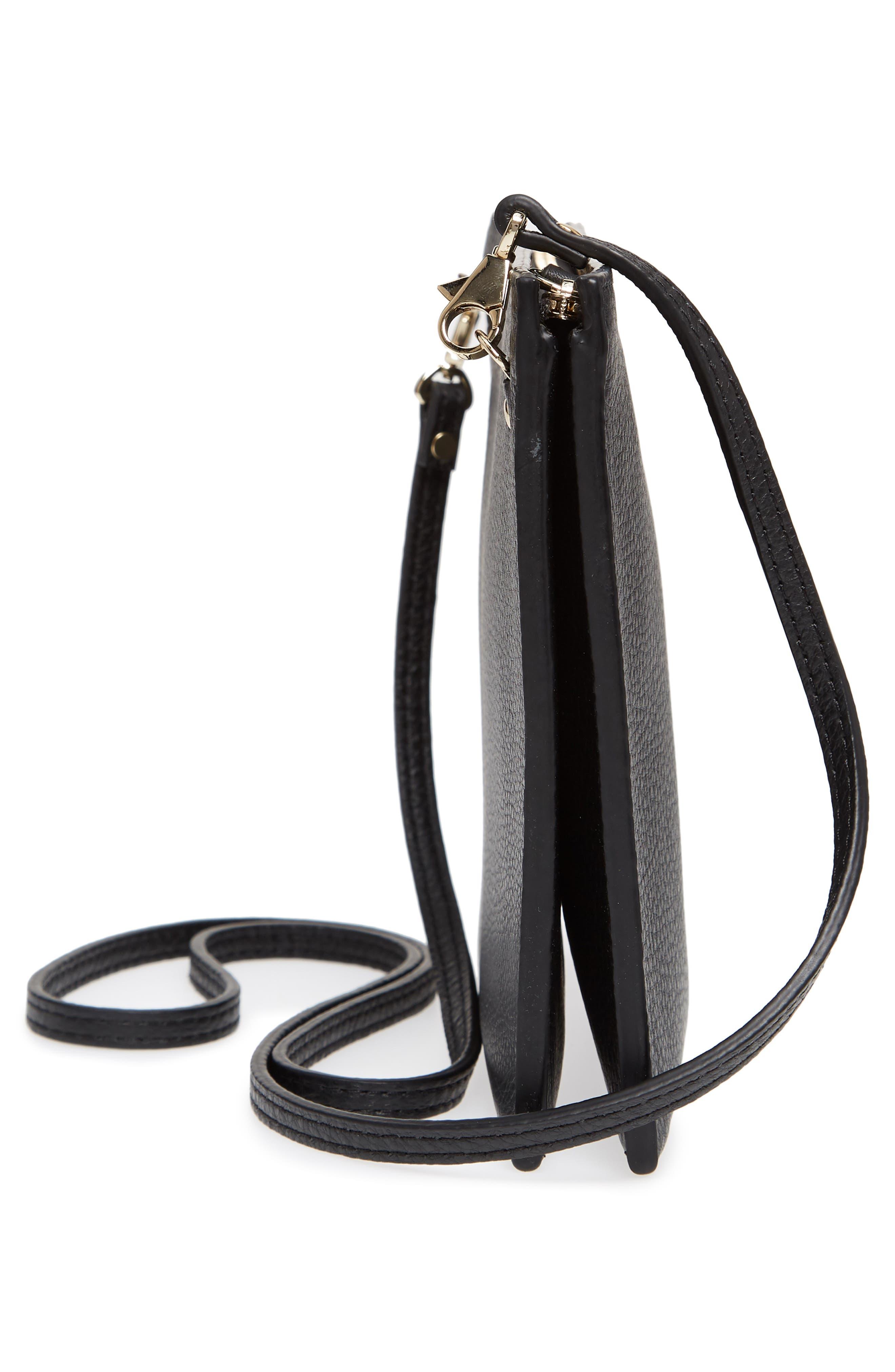 Dual Slim Leather Crossbody Clutch,                             Alternate thumbnail 5, color,                             True Black